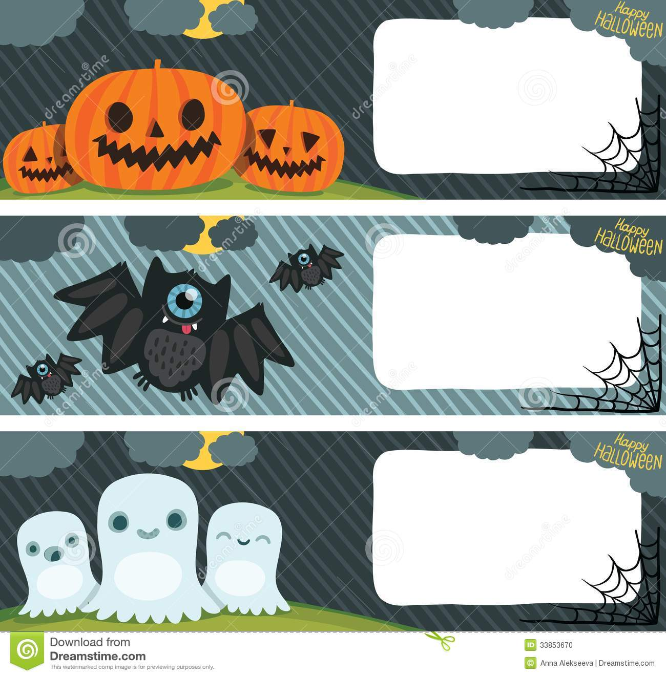 Happy Halloween Card Set With Pumpkin, Bat, Ghost. Stock Photo