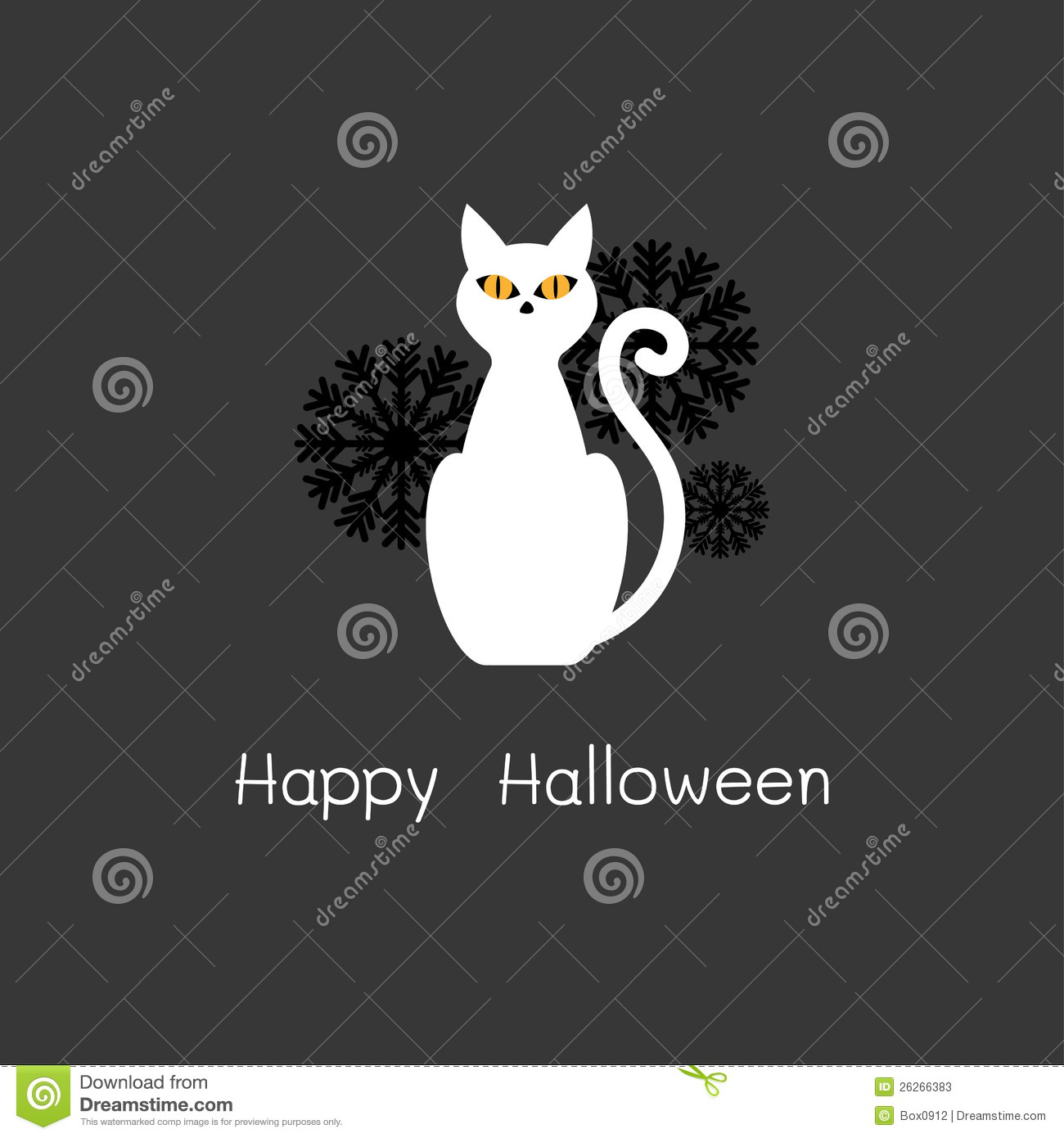 happy halloween card with white cat stock vector
