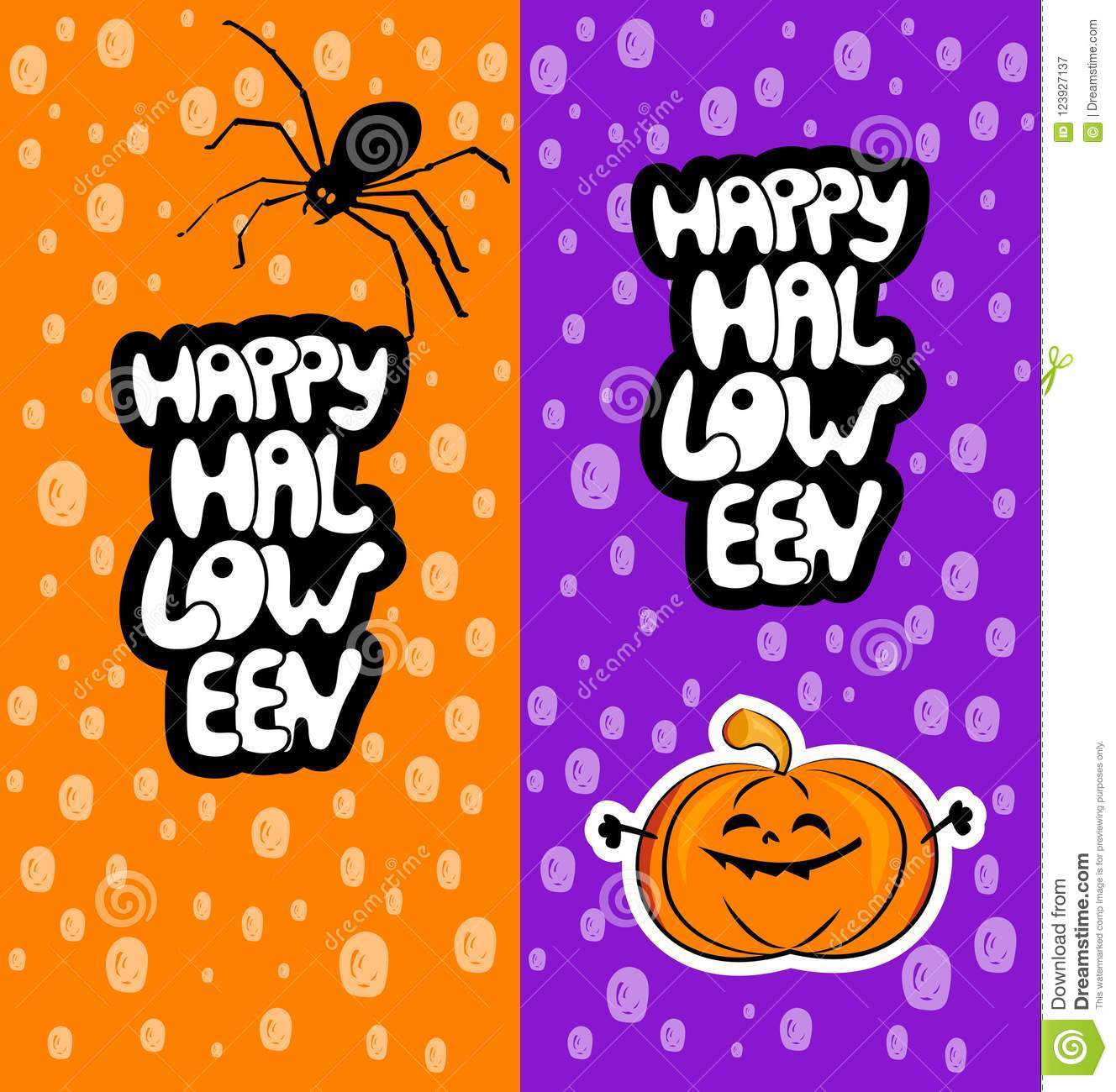 download happy halloween cards with spider and pumpkin stock illustration illustration of cute