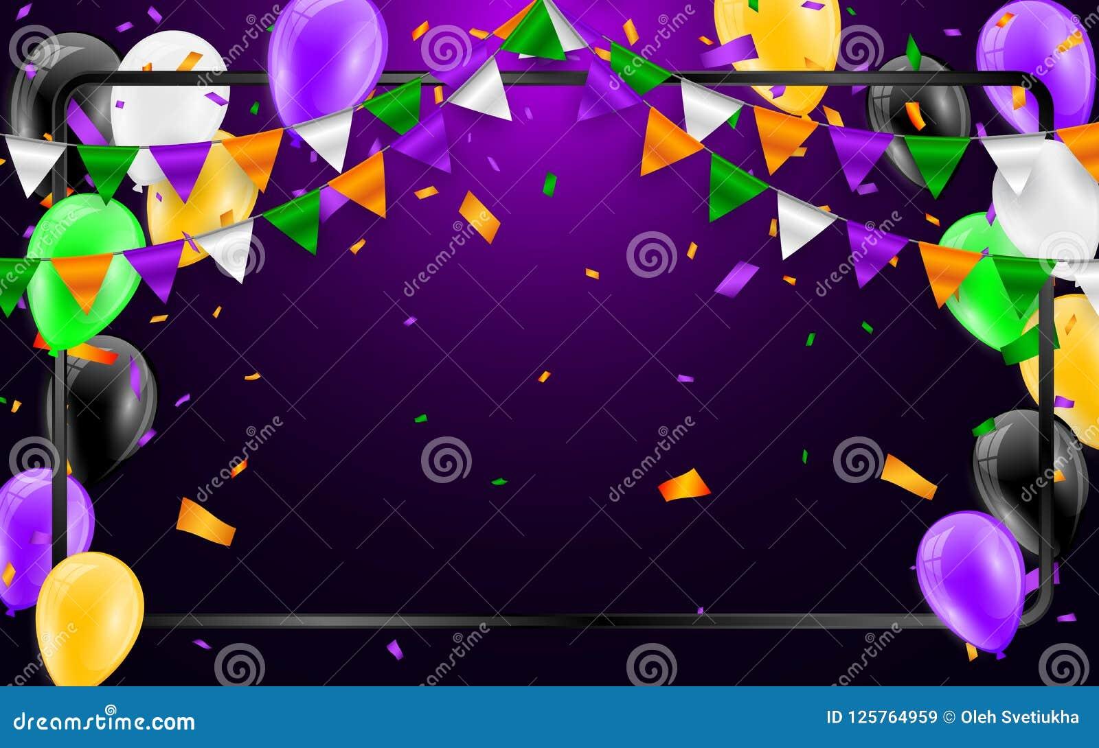 happy halloween carnival background. orange purple flags garland