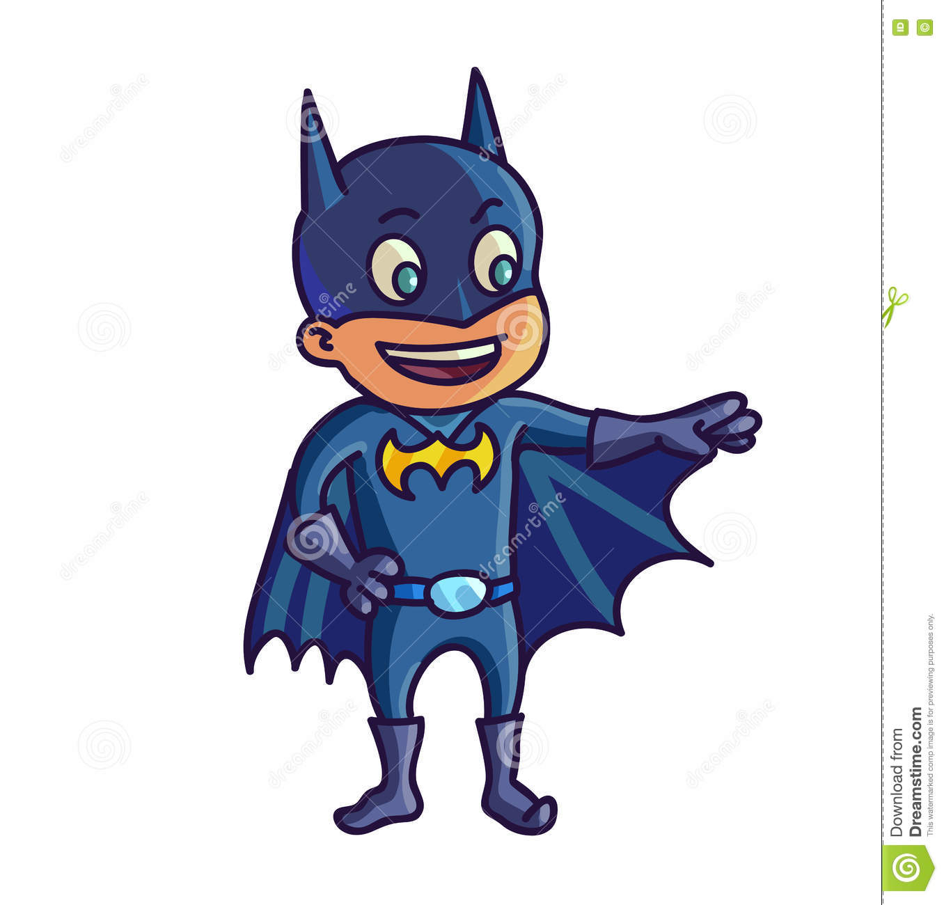 Happy Halloween Cartoon Cute Child In Costume Batman Editorial