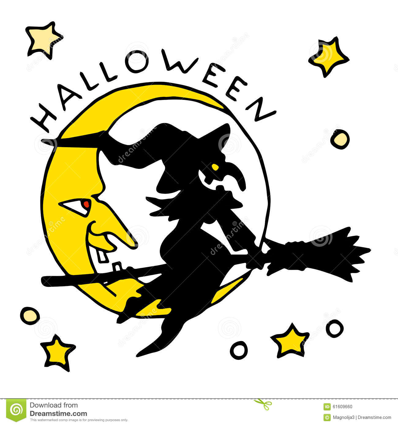 Happy Halloween Cartoon Icon With Witch Stock Vector - Image: 61609660