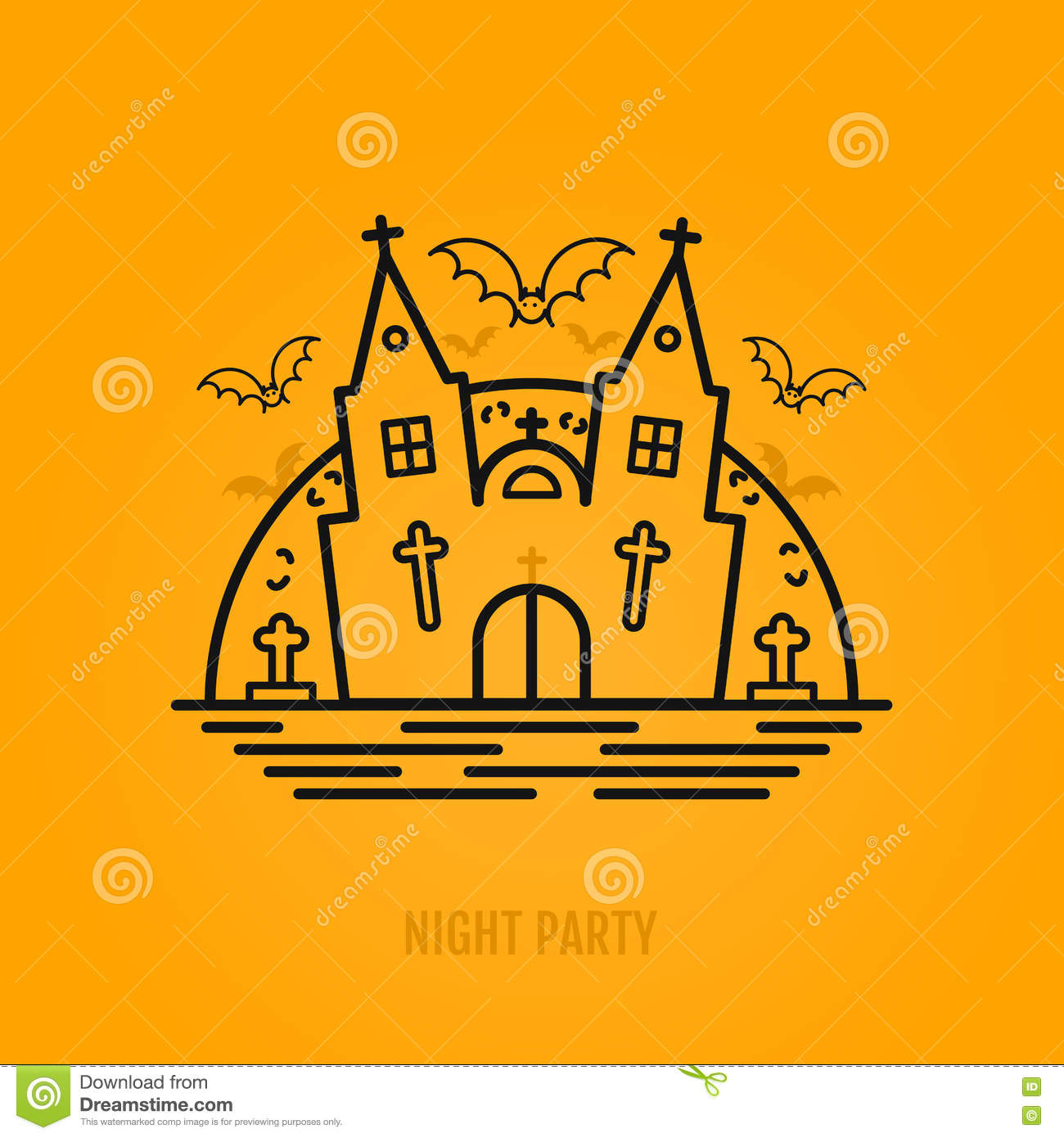 happy halloween concept with bats moon castle church and graves