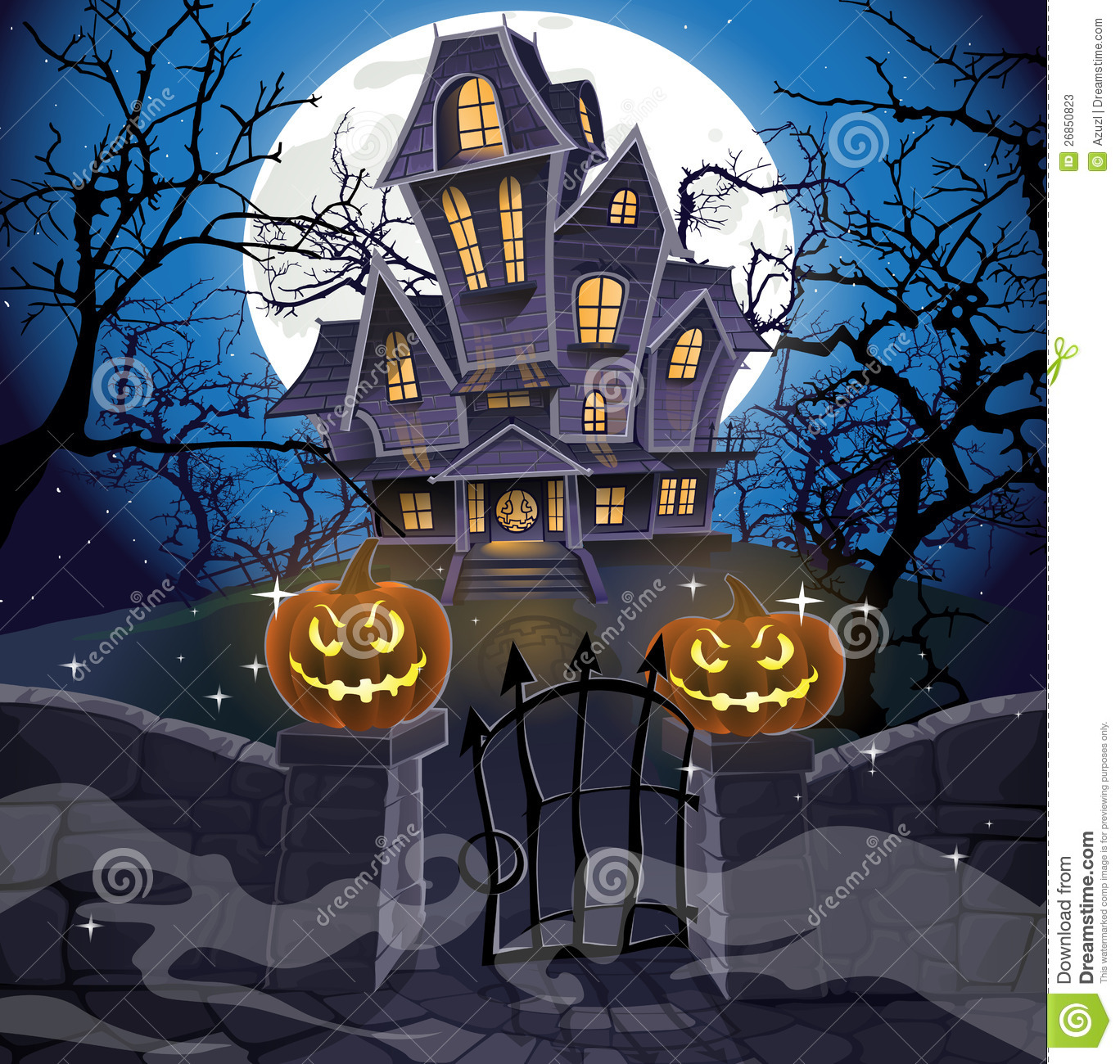 Halloween Home Decor Ideas: Happy Halloween Cozy Haunted House Stock Vector