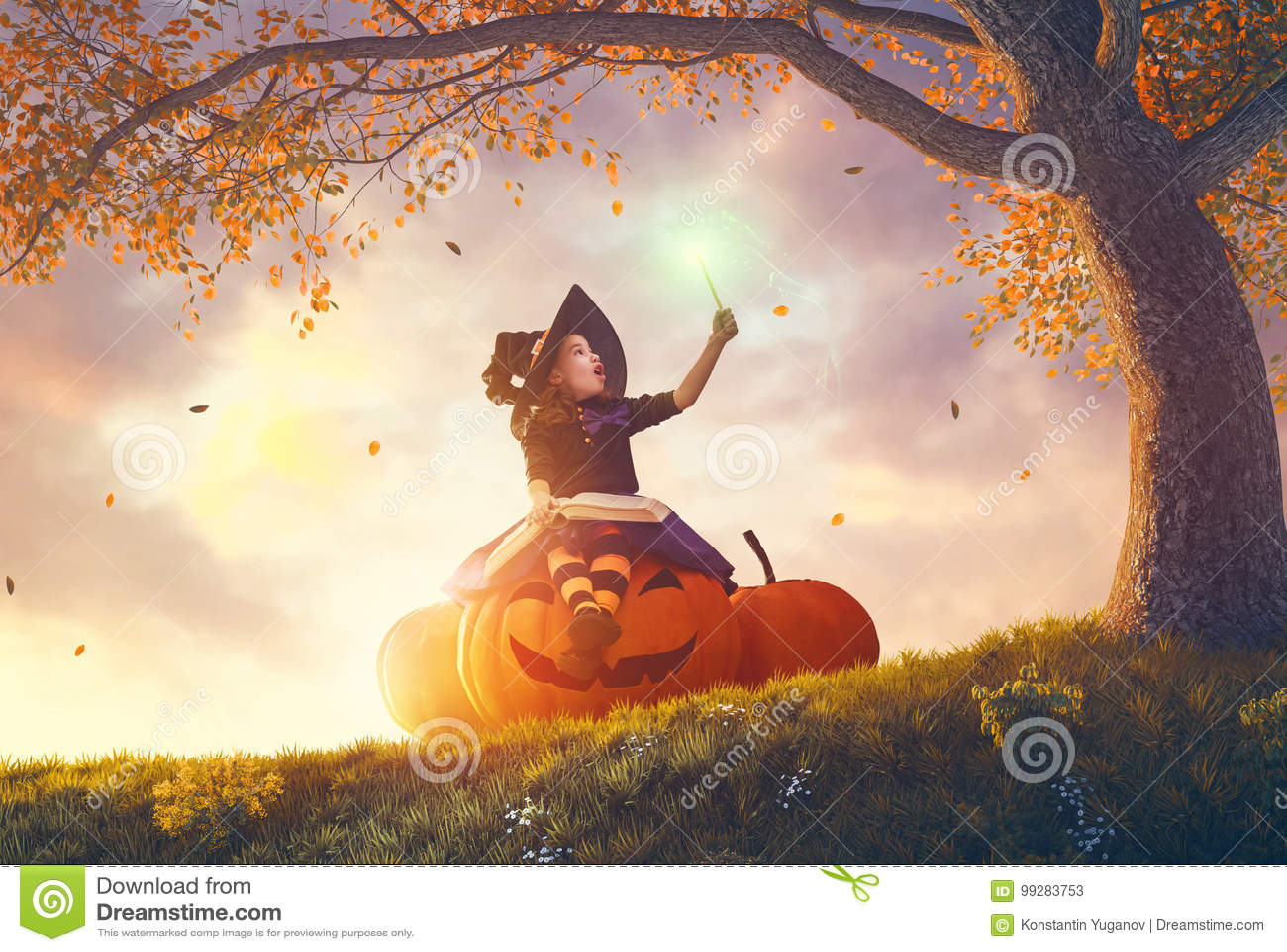 Witch with a big pumpkin