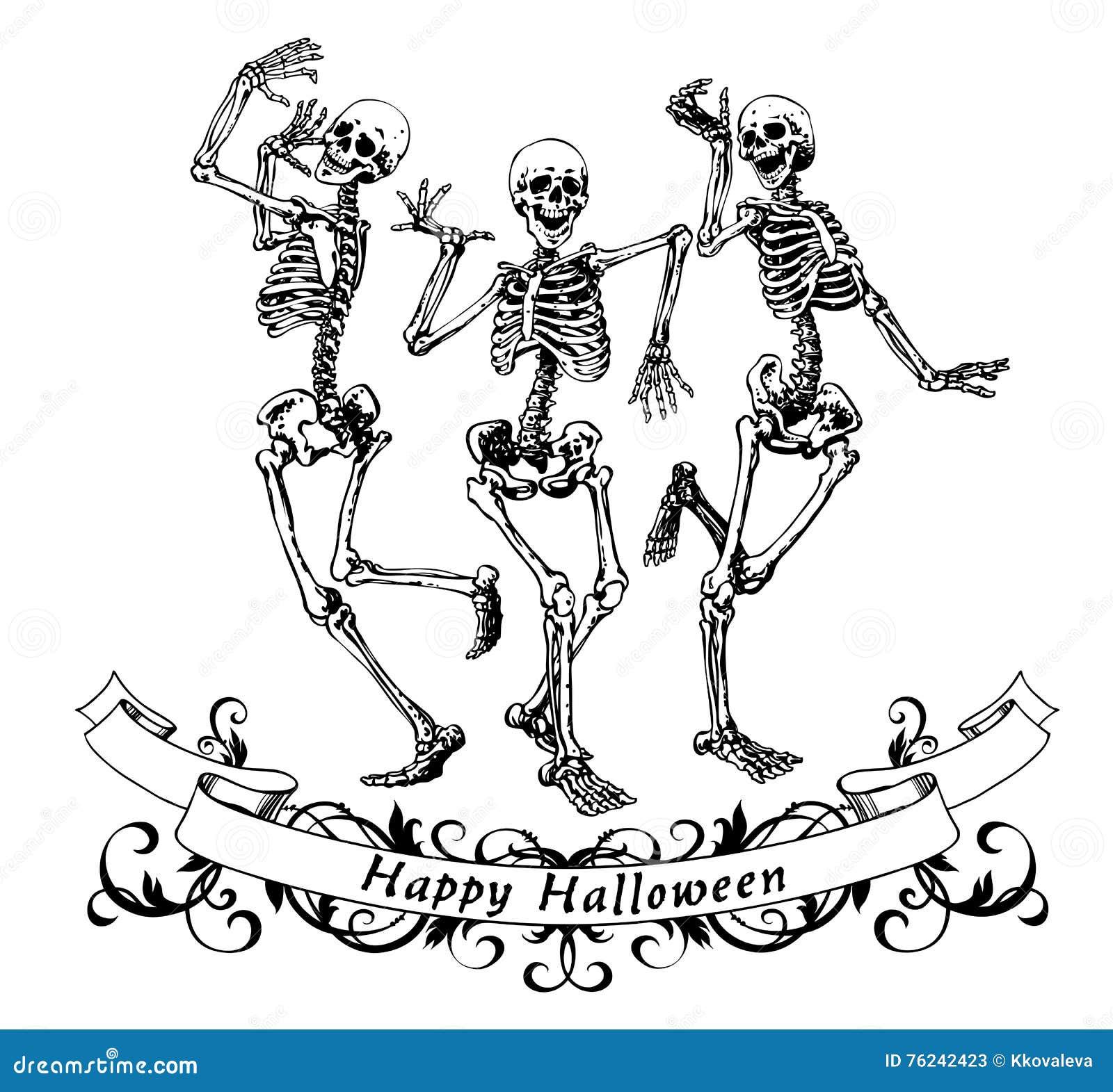 happy halloween dancing skeletons isolated vector illustration stock vector - Dancing Halloween
