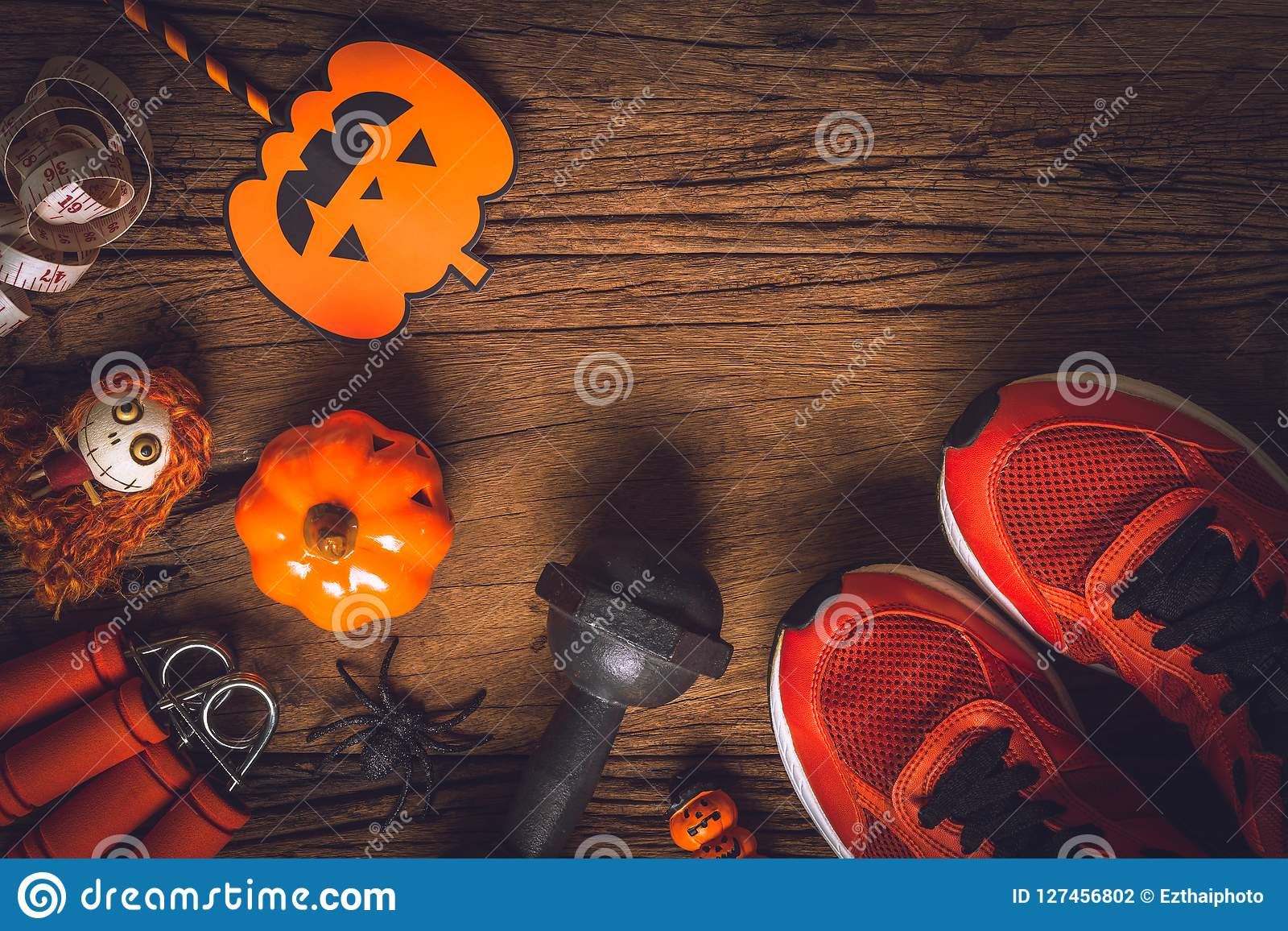 Happy Halloween day with Fitness, Exercise, Working out healthy