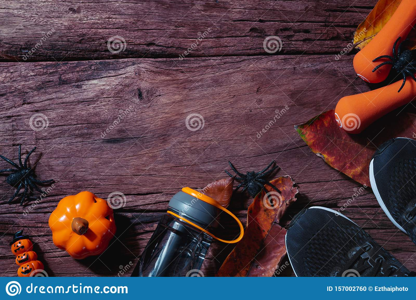 Happy Halloween day with Fitness, Exercise, Working out healthy lifestyle background concept. Flat lay Top view with copy space