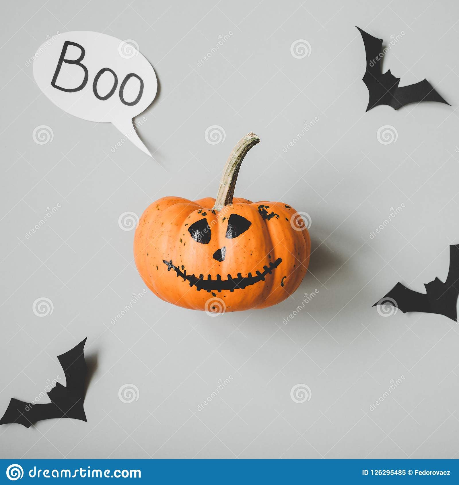 happy halloween. funny halloween pumpkin with speech bubble and
