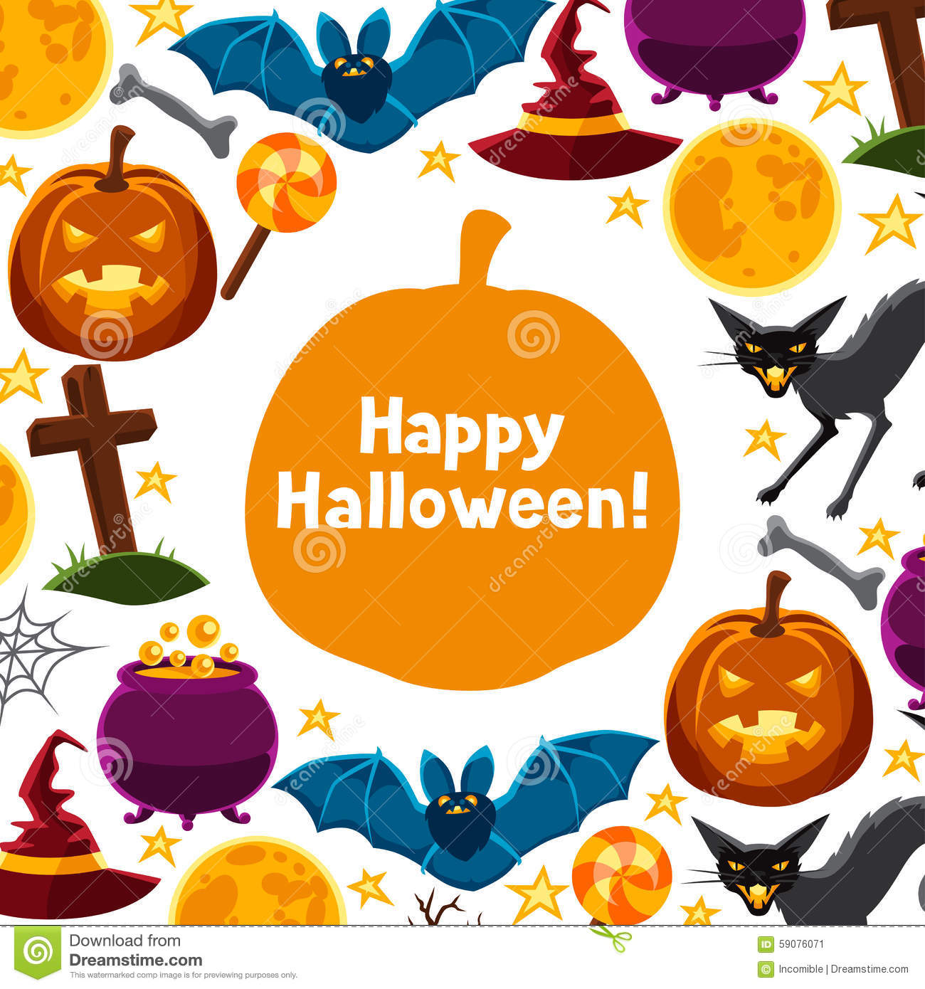 Happy halloween greeting card with characters and stock vector happy halloween greeting card with characters and kristyandbryce Gallery