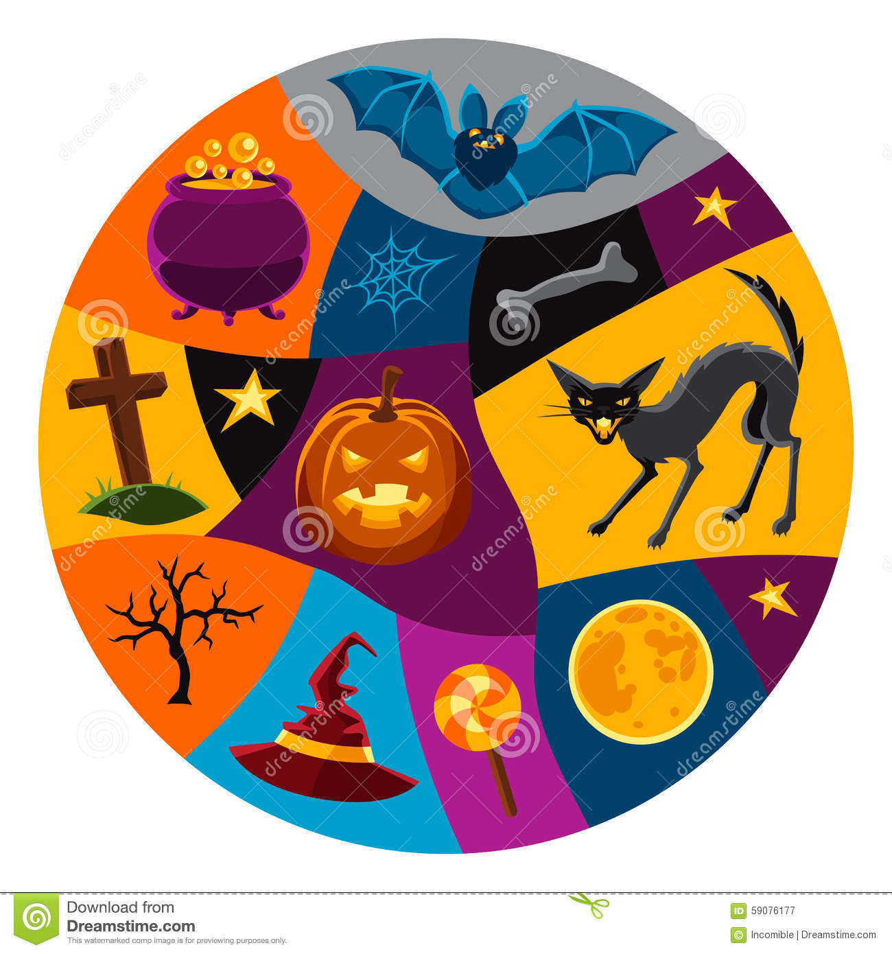 Happy halloween greeting card with characters and stock vector happy halloween greeting card with characters and character illustration kristyandbryce Choice Image