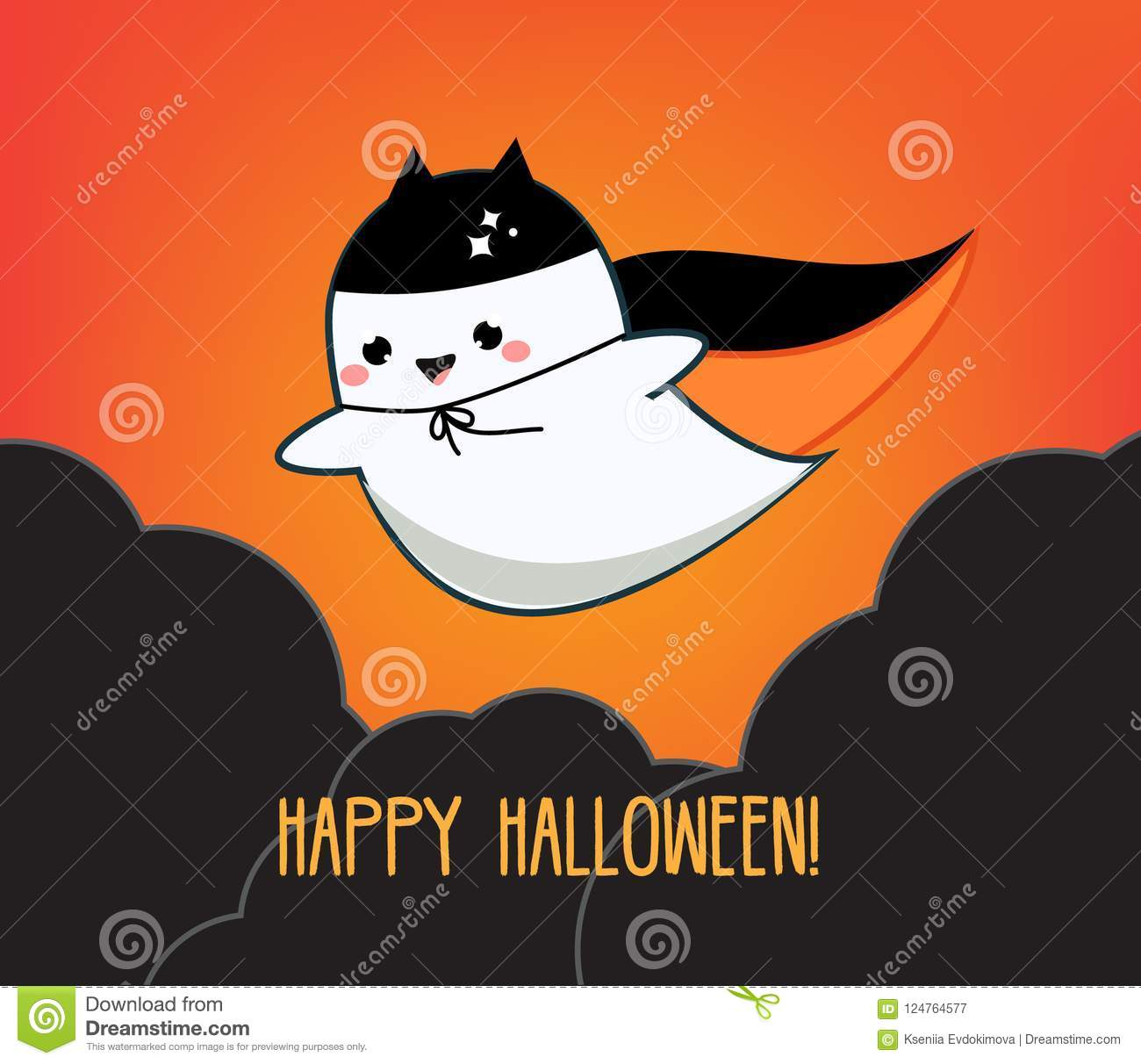 Happy Halloween Greeting Card Holiday Banner With Cute Kawaii Ghost