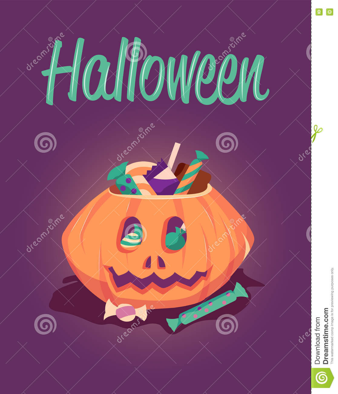 Happy Halloween Greeting Card Vector Poster Illustration Holiday
