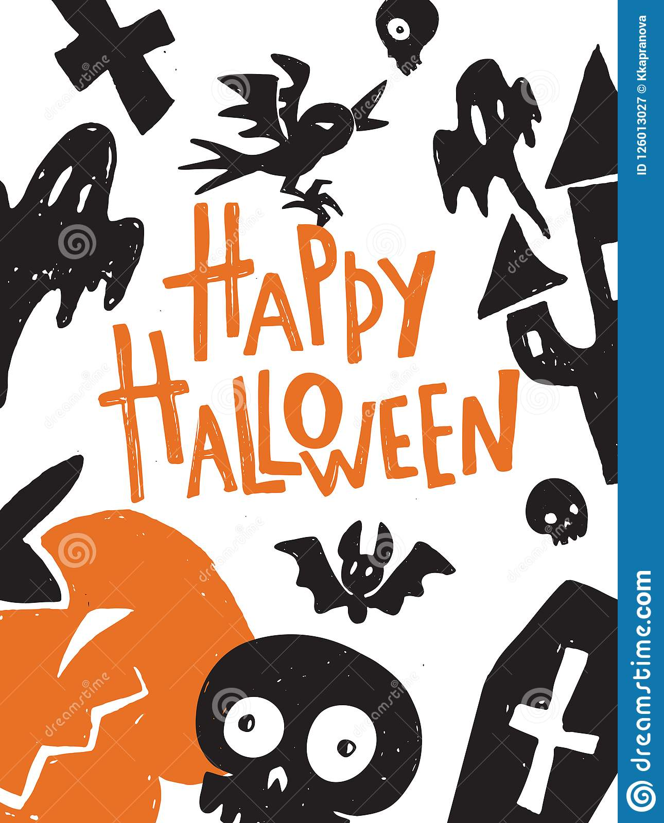 Happy Halloween Hand Lettering Poster Illustration Of Different