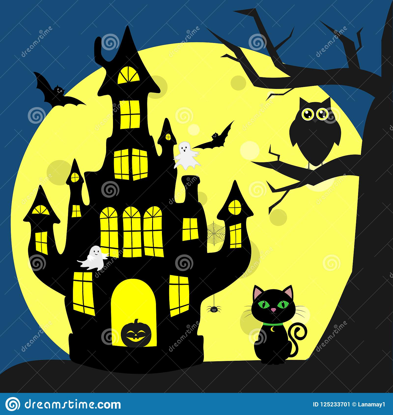 Happy Halloween Helluinsky Black Cat Sits Next To The House Of The