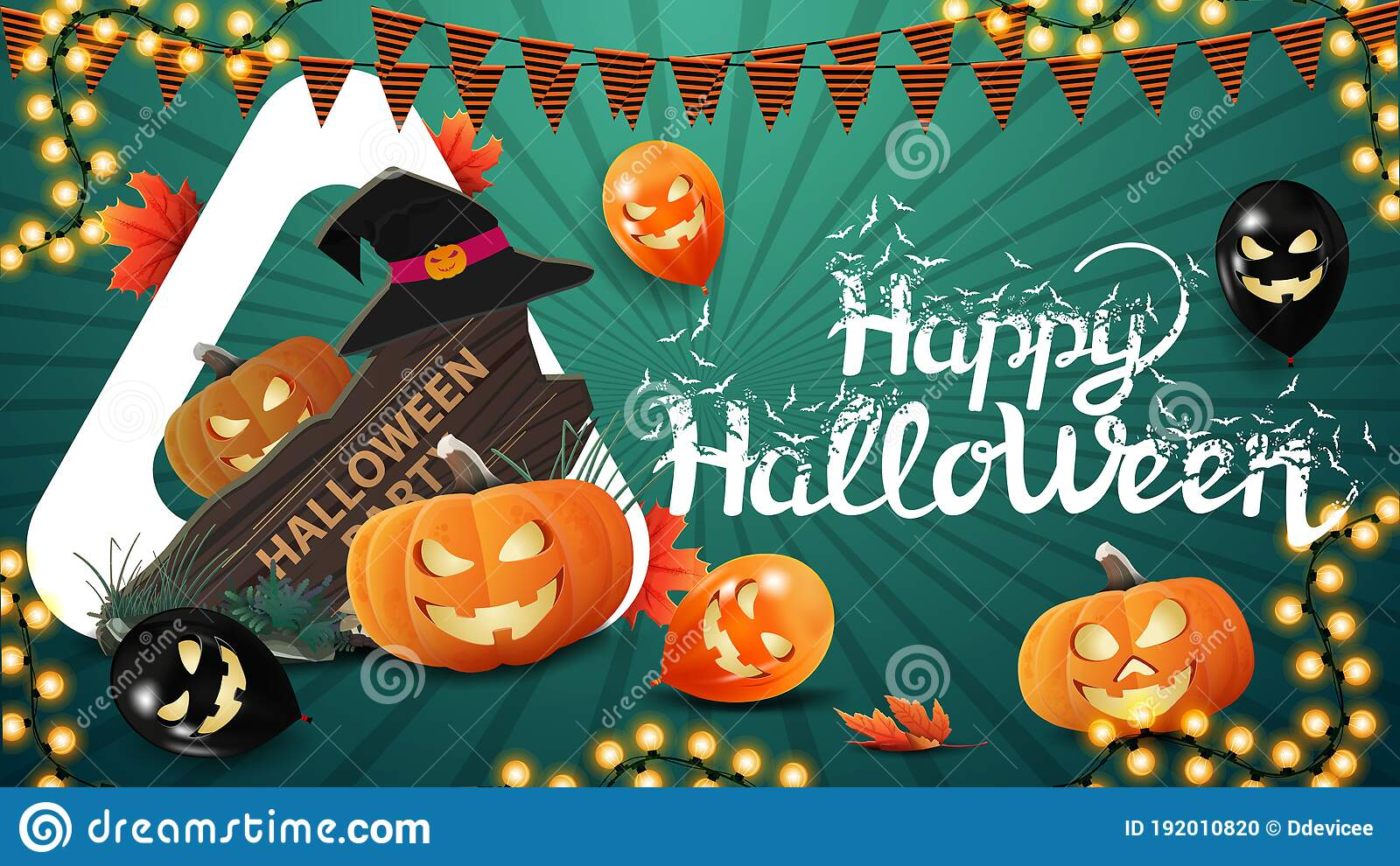 Happy Halloween Horizontal Green Greeting Postcard With Halloween Balloons Pumpkin Garland Wooden Sign Witch Hat And Pumpkin Stock Vector Illustration Of Sign Vector 192010820