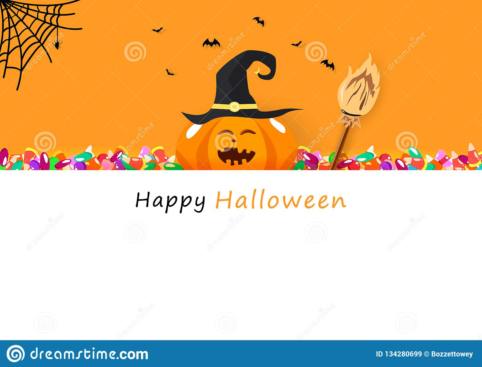 Happy Halloween Invitation Card Candy Broom Cute Pumpkin