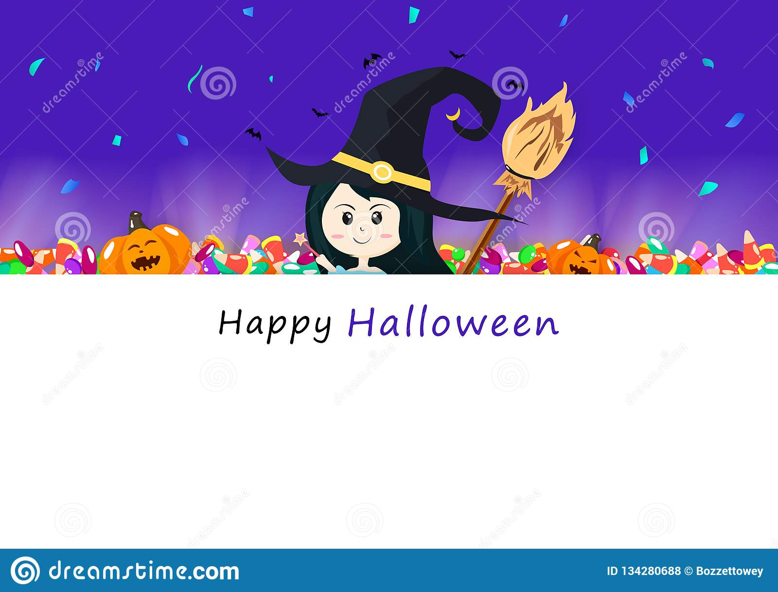 Happy Halloween Invitation Card Candy Broom Light Shine