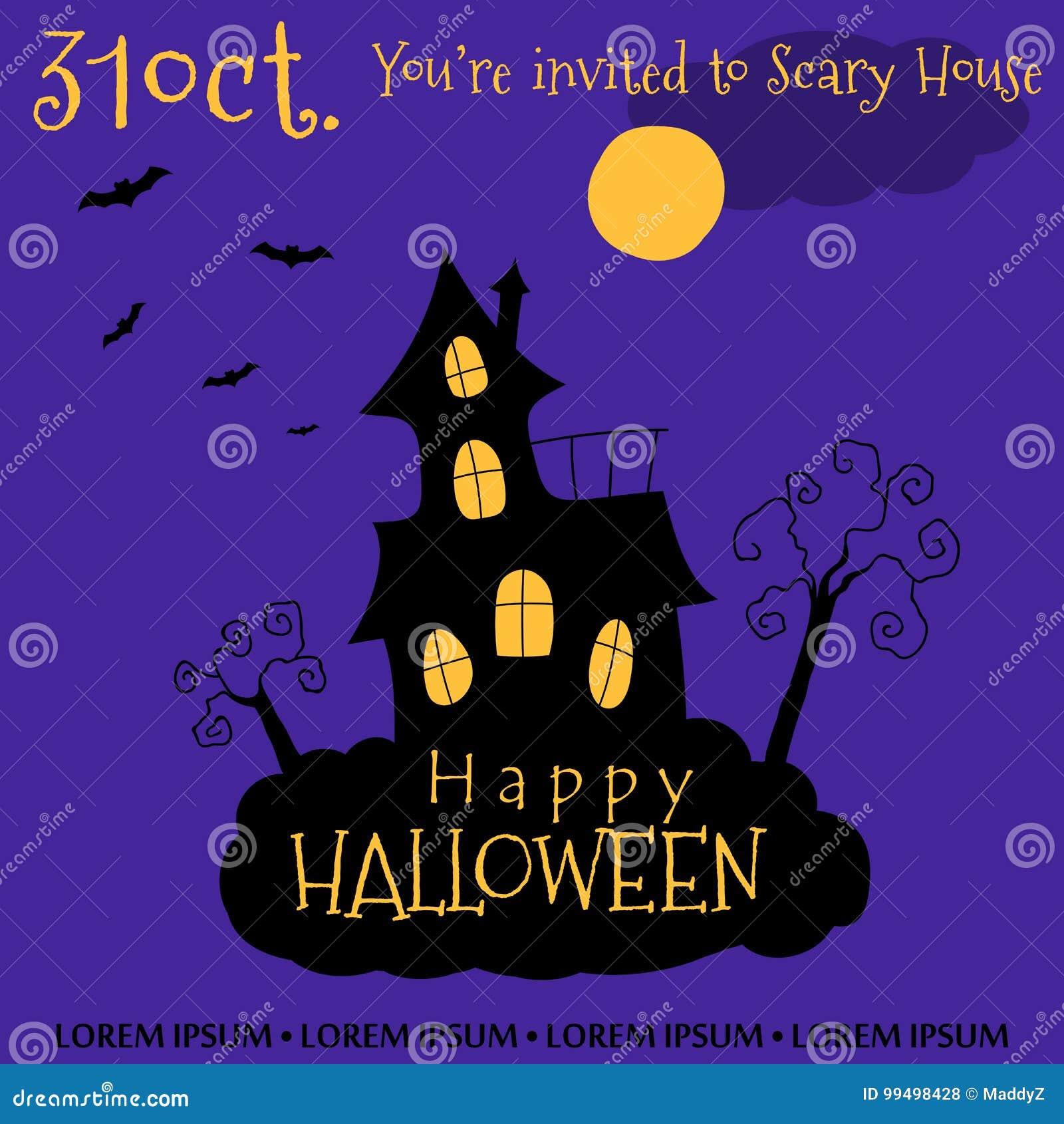 Happy Halloween Invitation Card Design Vector Illustration