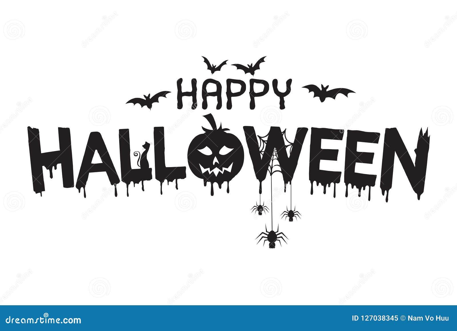 Happy Halloween Lettering Illustration Stock Vector Illustration Of Illustrated Black 127038345