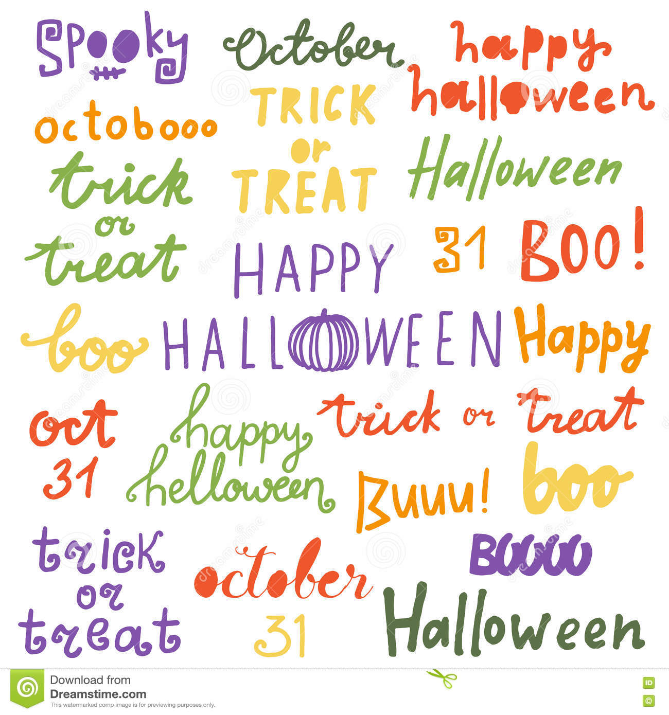 Happy Halloween Lettering Phrases. Quotes: Trick Or Treat, Boo ...