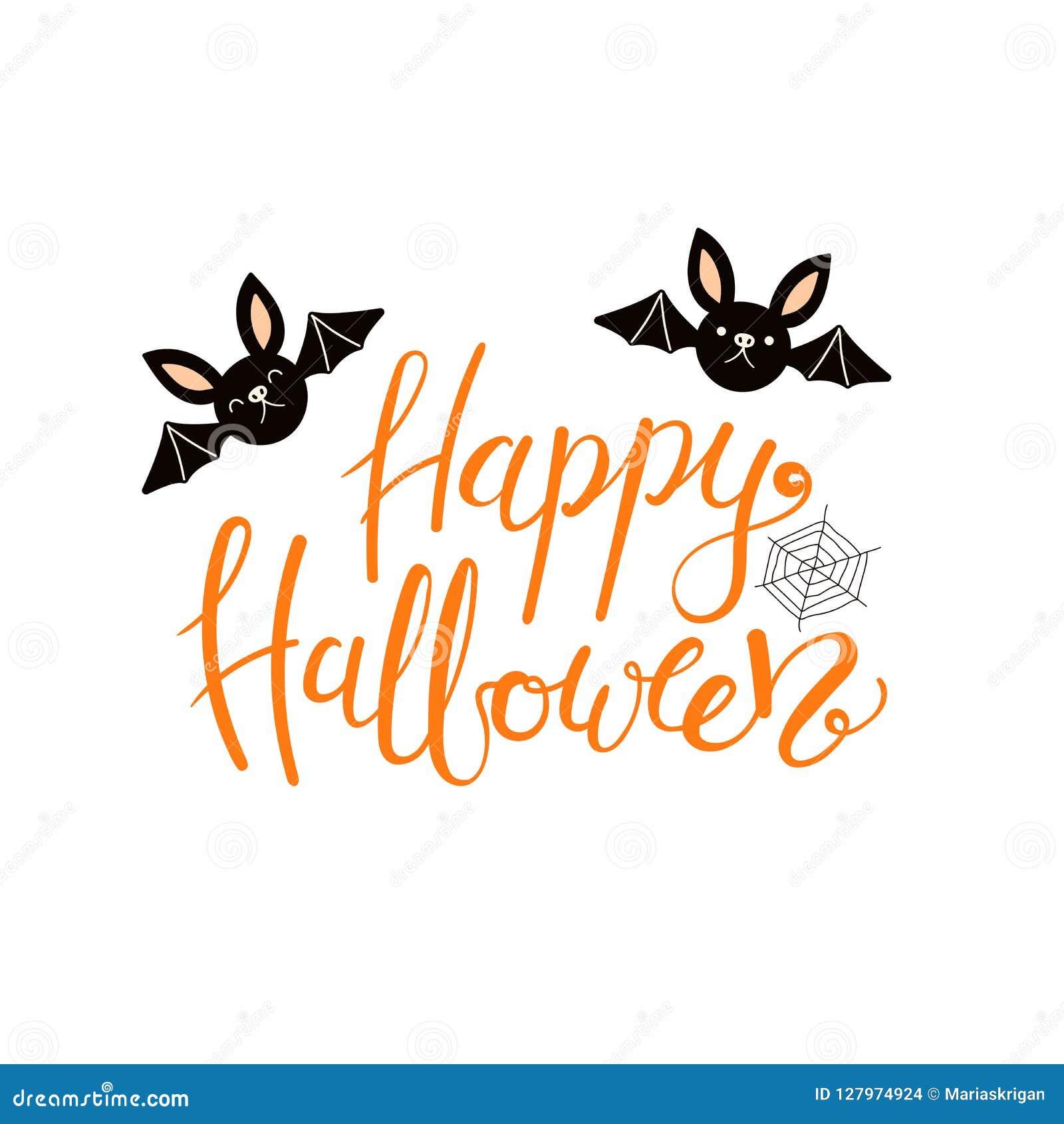 Happy Halloween Lettering Quote Stock Vector Illustration Of Girl Design 127974924