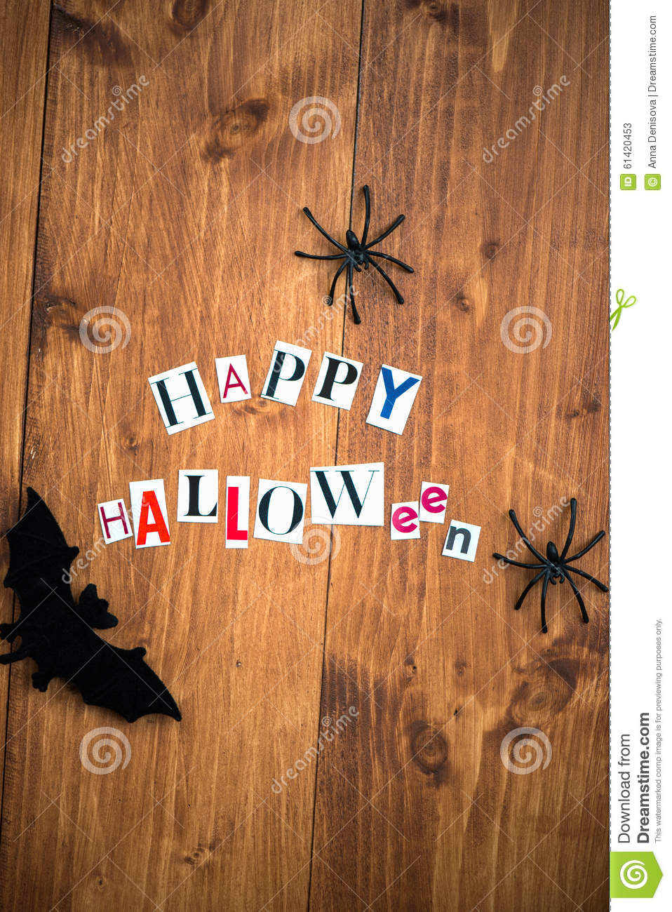 happy halloween letters cut out from the magazines, bats and bla