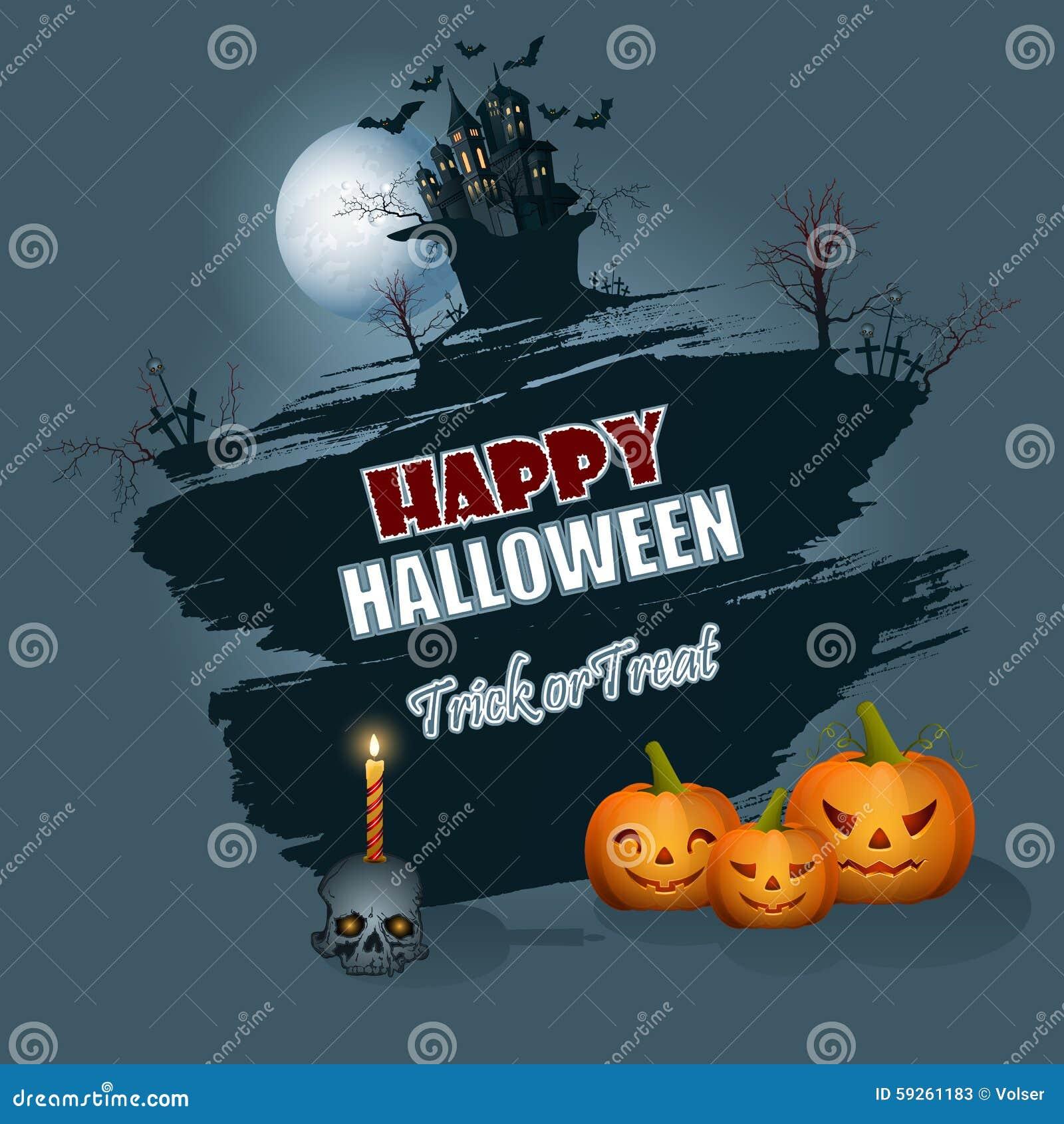 happy halloween message; background with moonlight scene stock