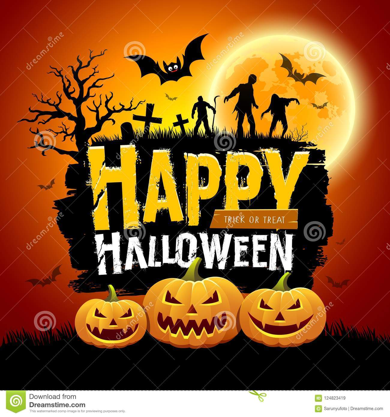 happy halloween message design with pumpkins bat tree zombies and