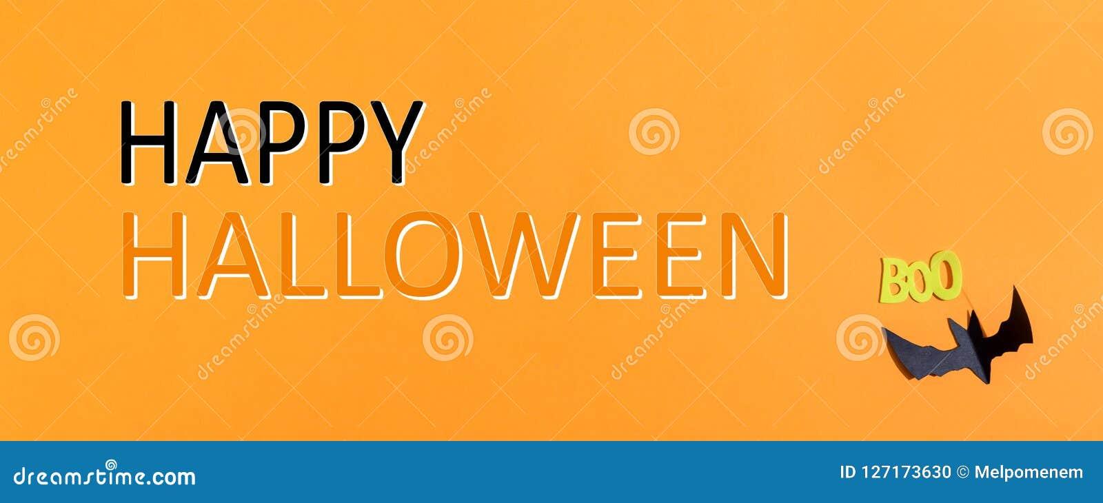 Happy Halloween message with paper bat