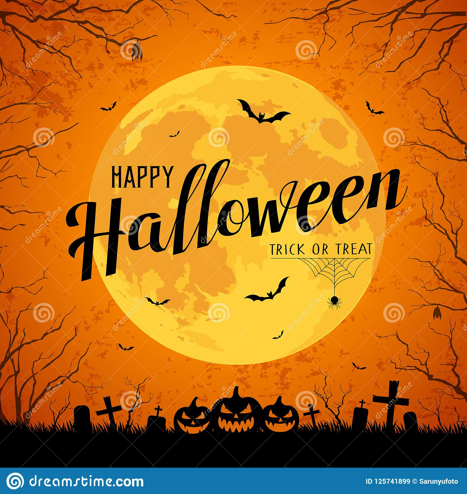 happy halloween message yellow full moon and bat on tree stock