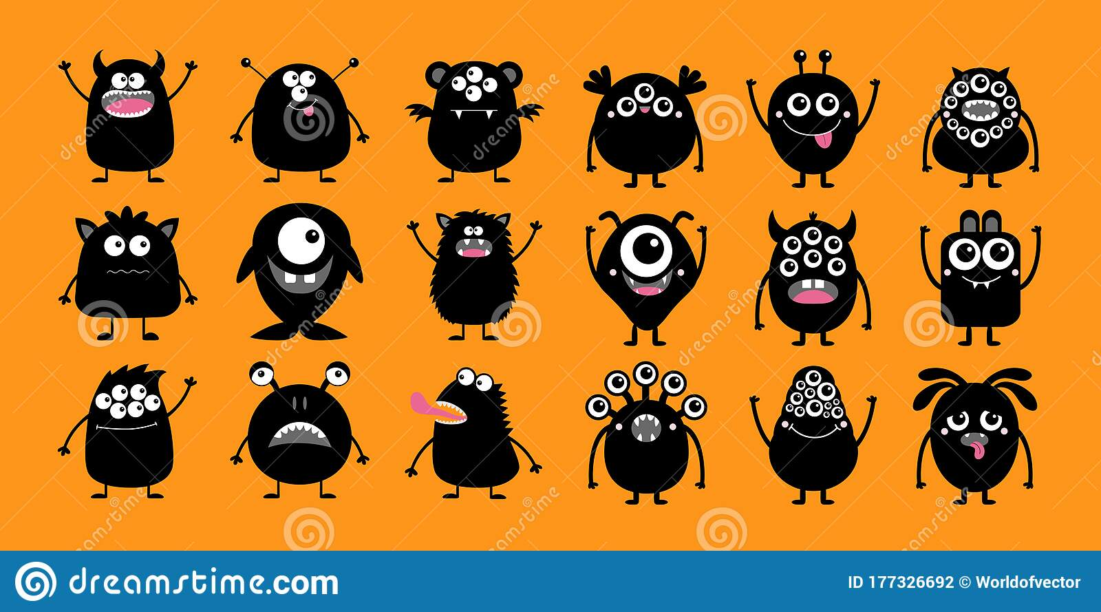Happy Halloween Monster Icon Set Cute Kawaii Cartoon Black Scary