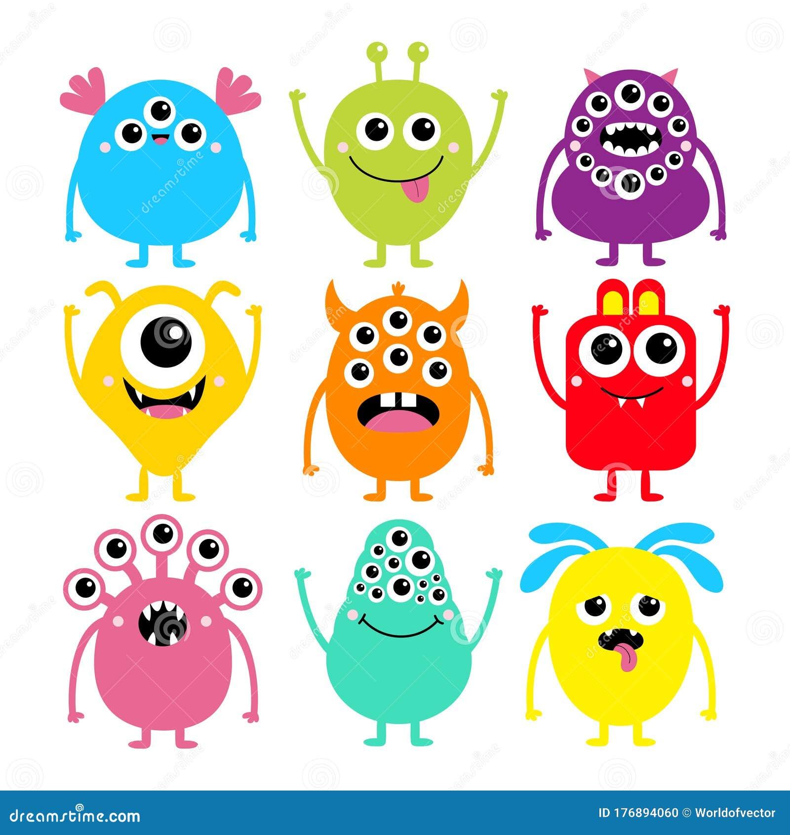 Happy Halloween Monster Set Cute Kawaii Cartoon Colorful Scary