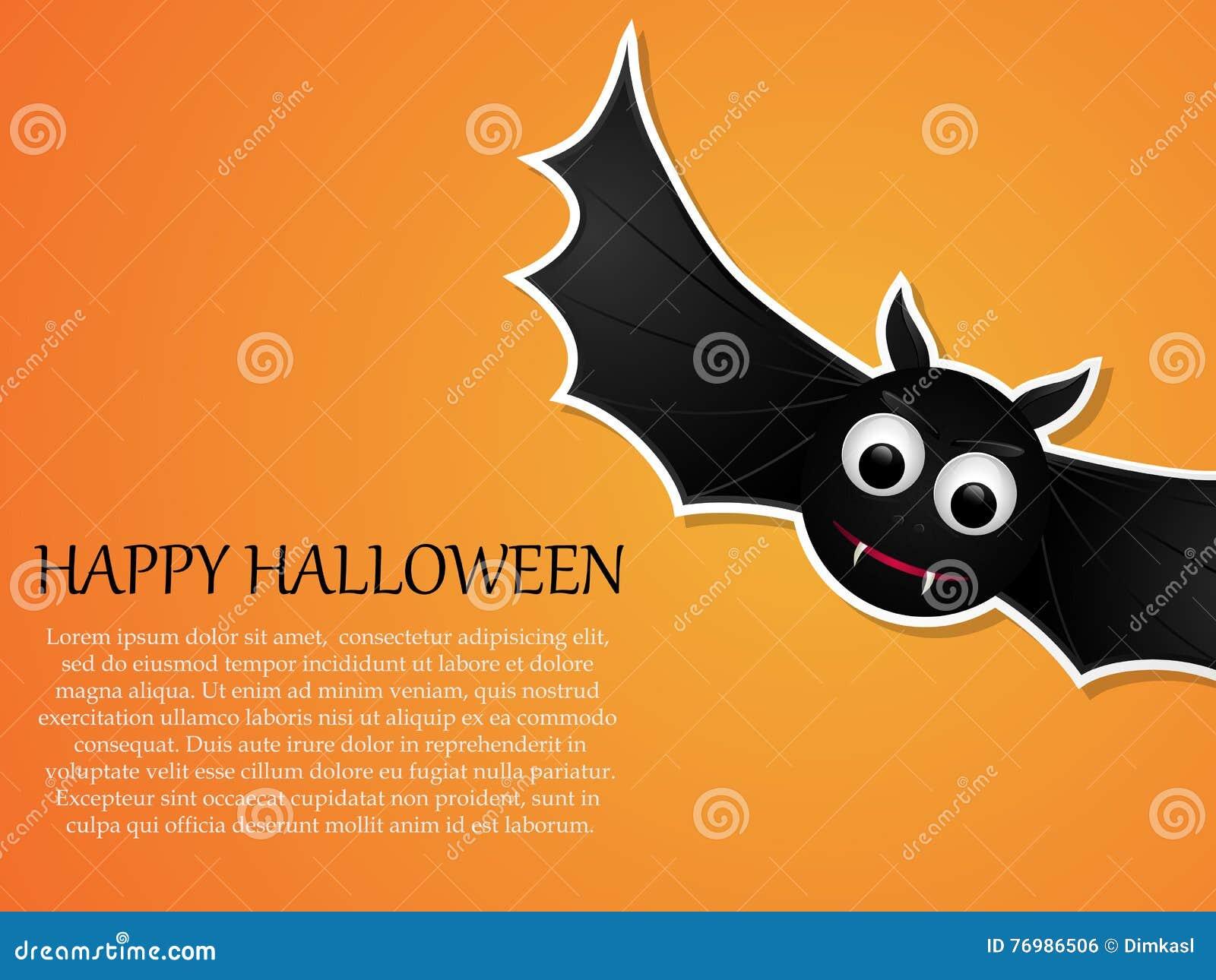 happy halloween orange background with flying bat design template