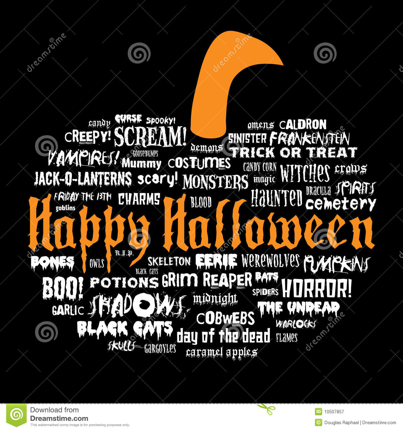 Happy Halloween And Other Scary Words Stock Vector - Illustration ...