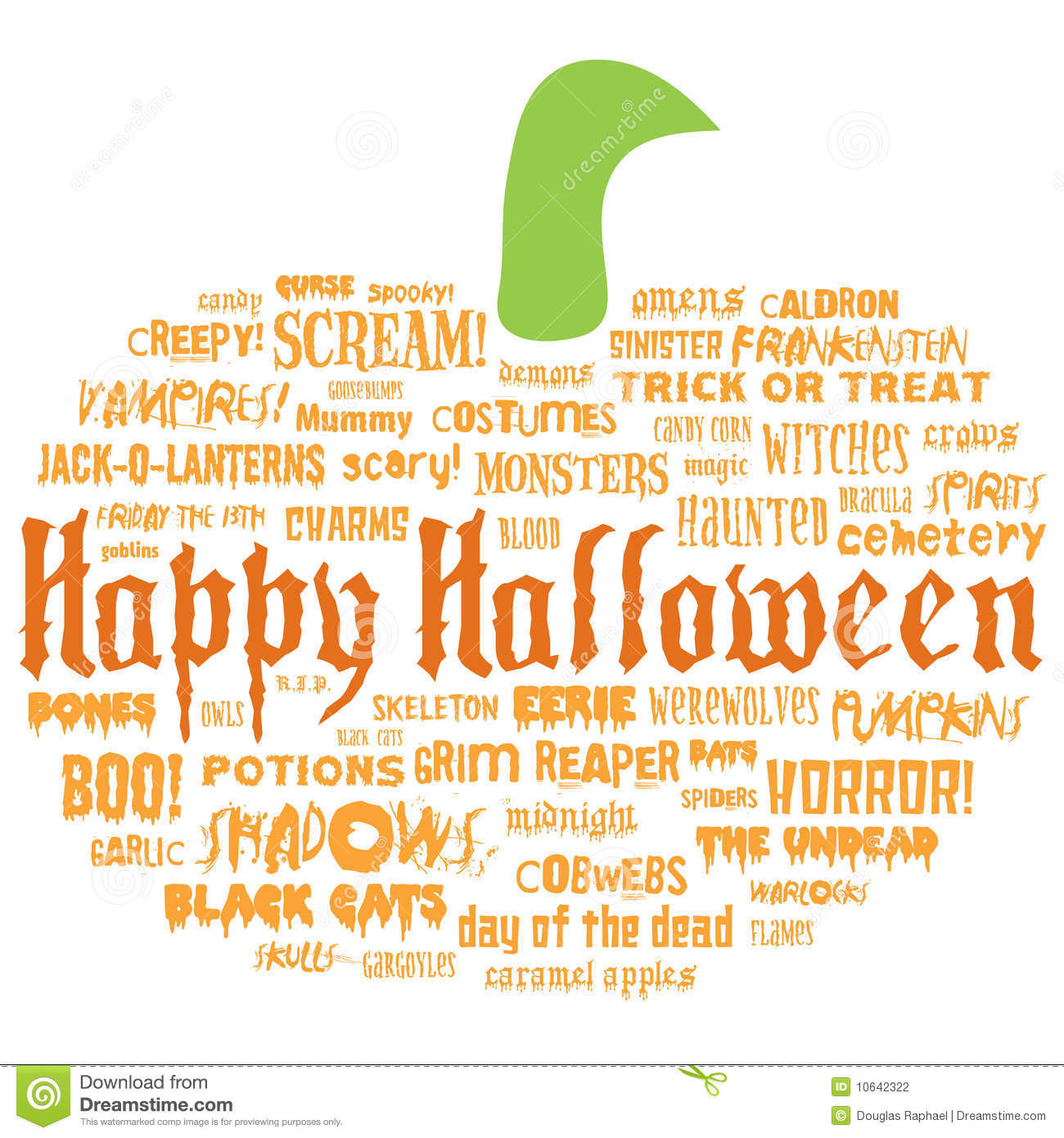 happy halloween and other scary words illustration 10642322 megapixl