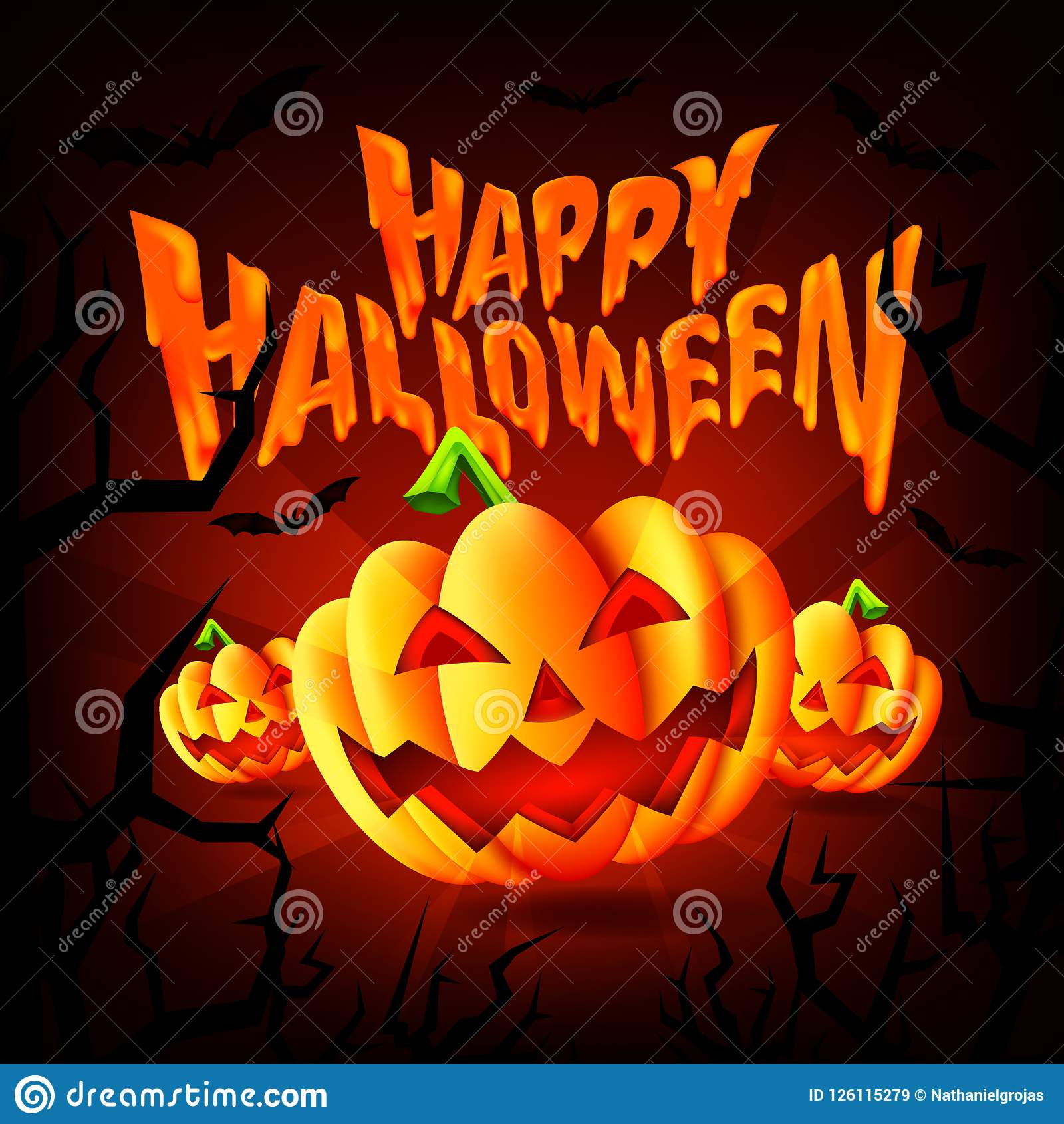 happy halloween party background with scary pumpkins and flying bats
