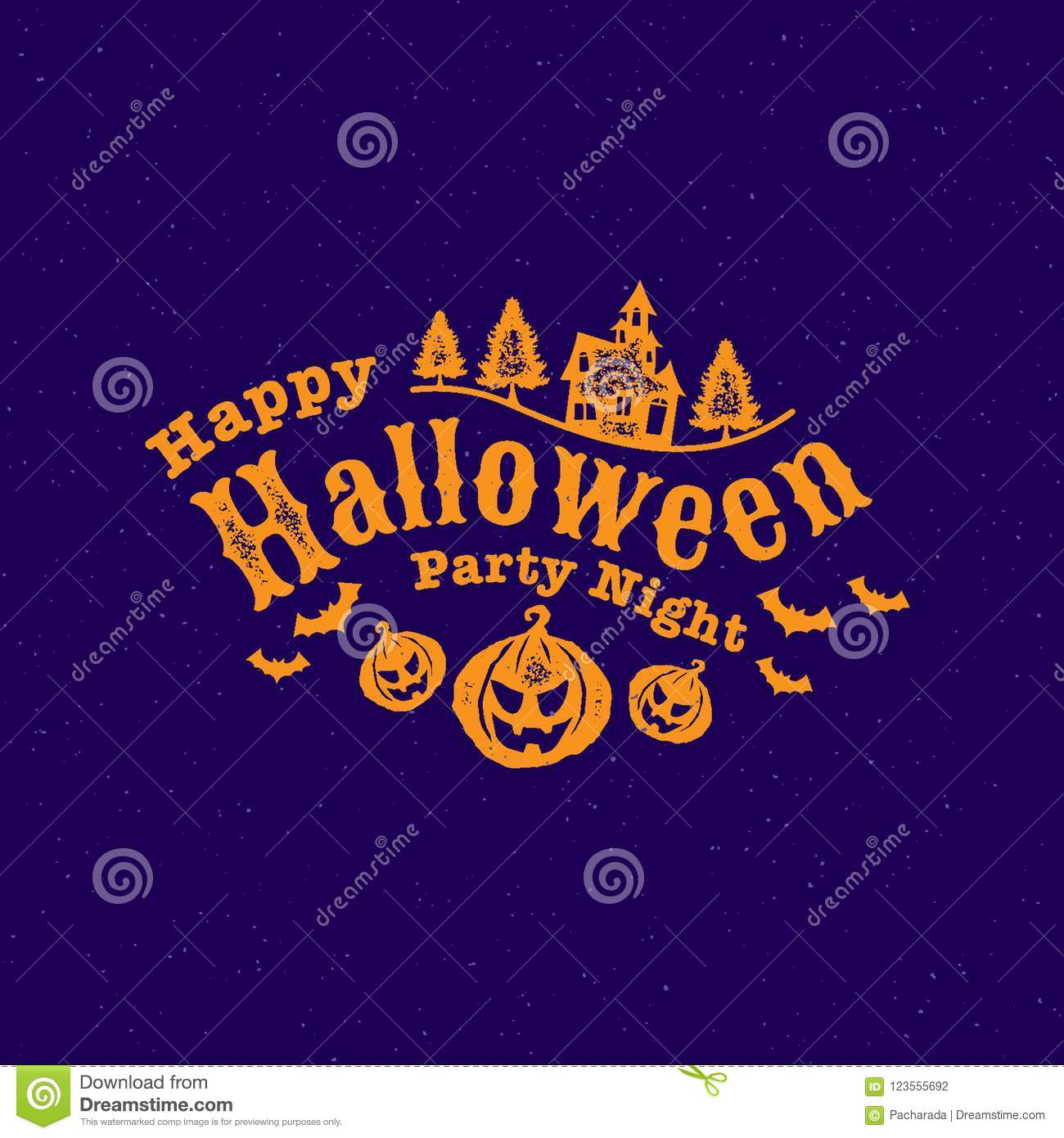 Happy Halloween Party , Calligraphy, Logo ,Ghost , Scary ,spooky ...