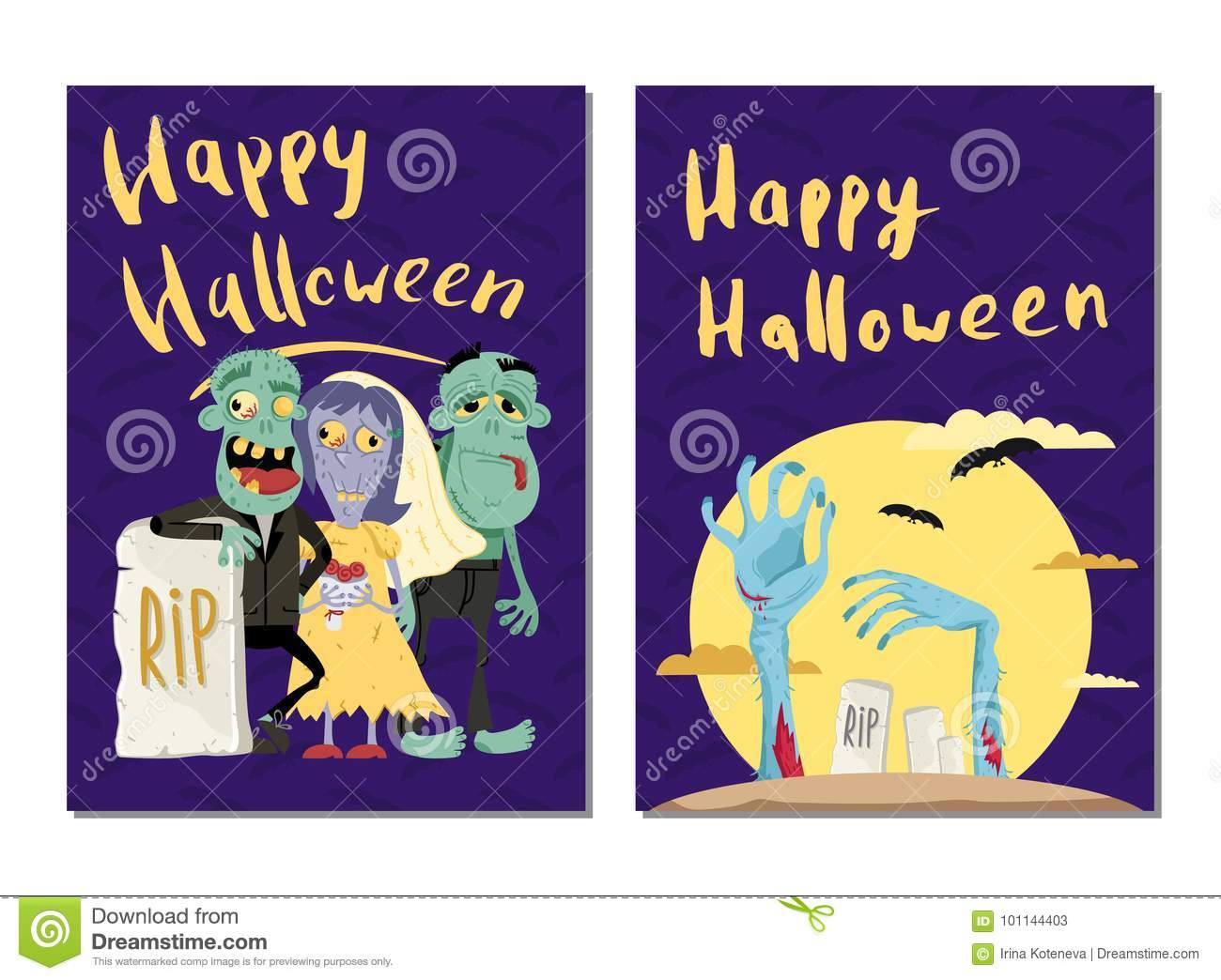 happy halloween party cards with cute zombies stock vector
