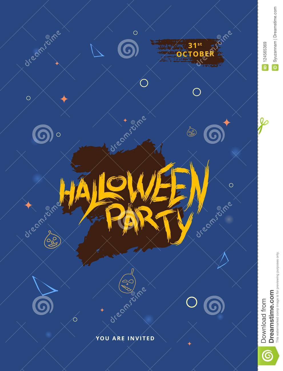 Happy Halloween Party Flat Vertical Poster Vector Illustration