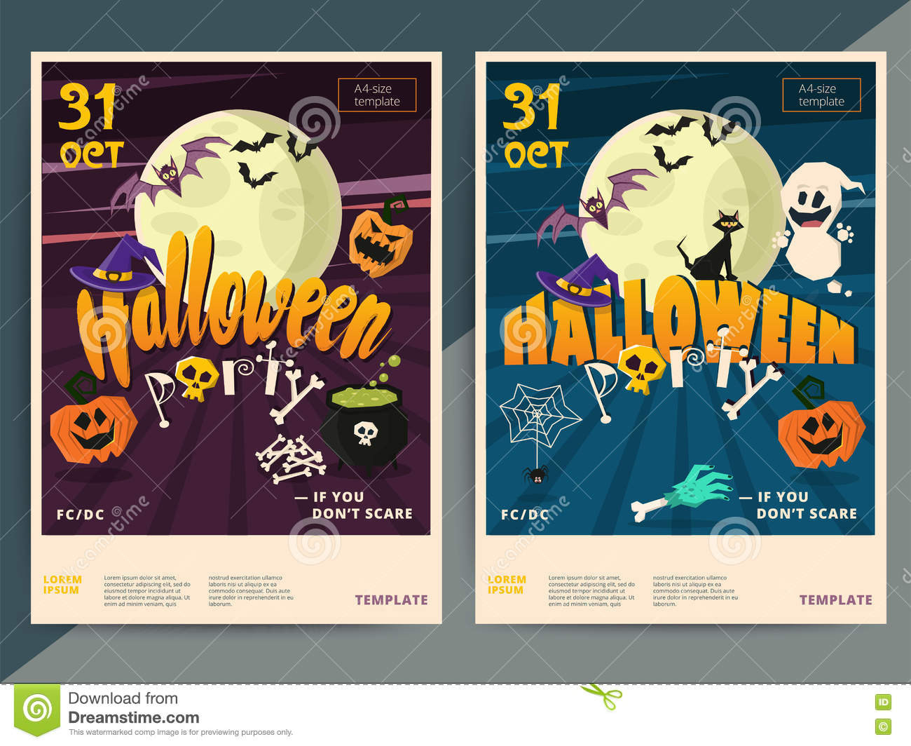 Happy Halloween Party Poster Template Design. All Hallow Eve Fly ...