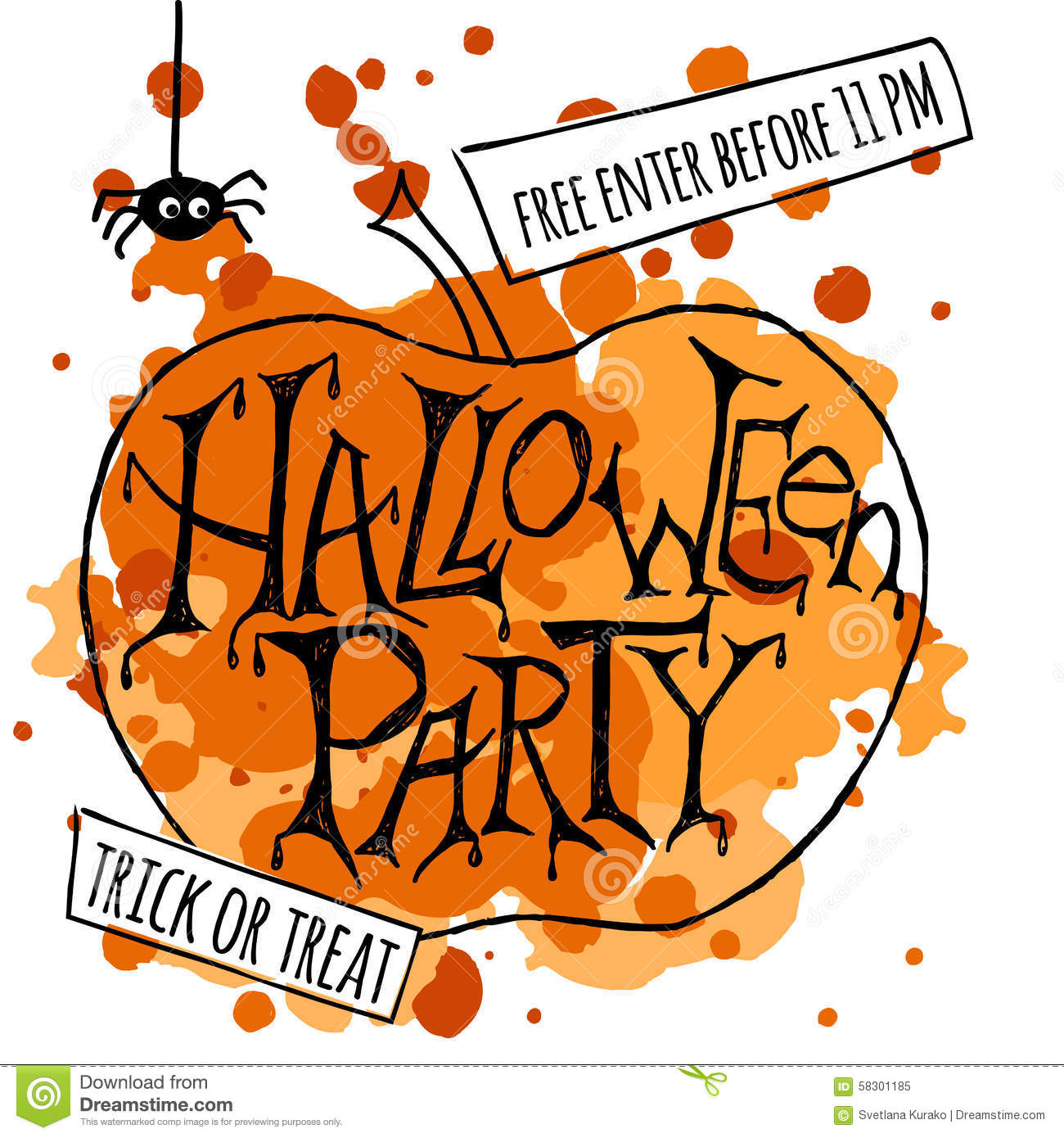 Happy Halloween Party Poster. Vector Illustration. Stock Vector ...
