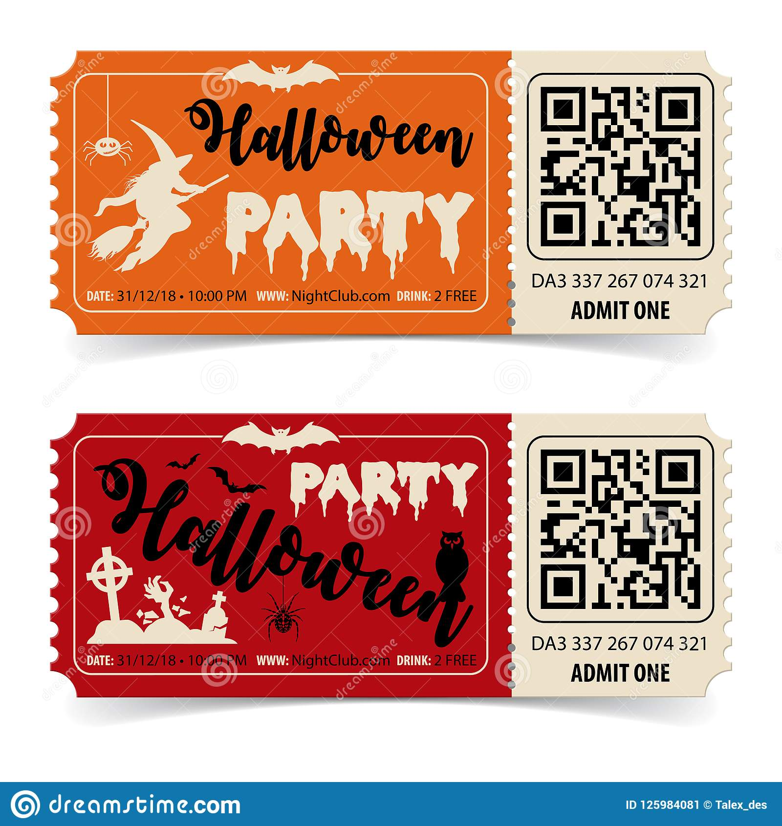 Happy Halloween Party Tickets Stock Vector - Illustration of ...