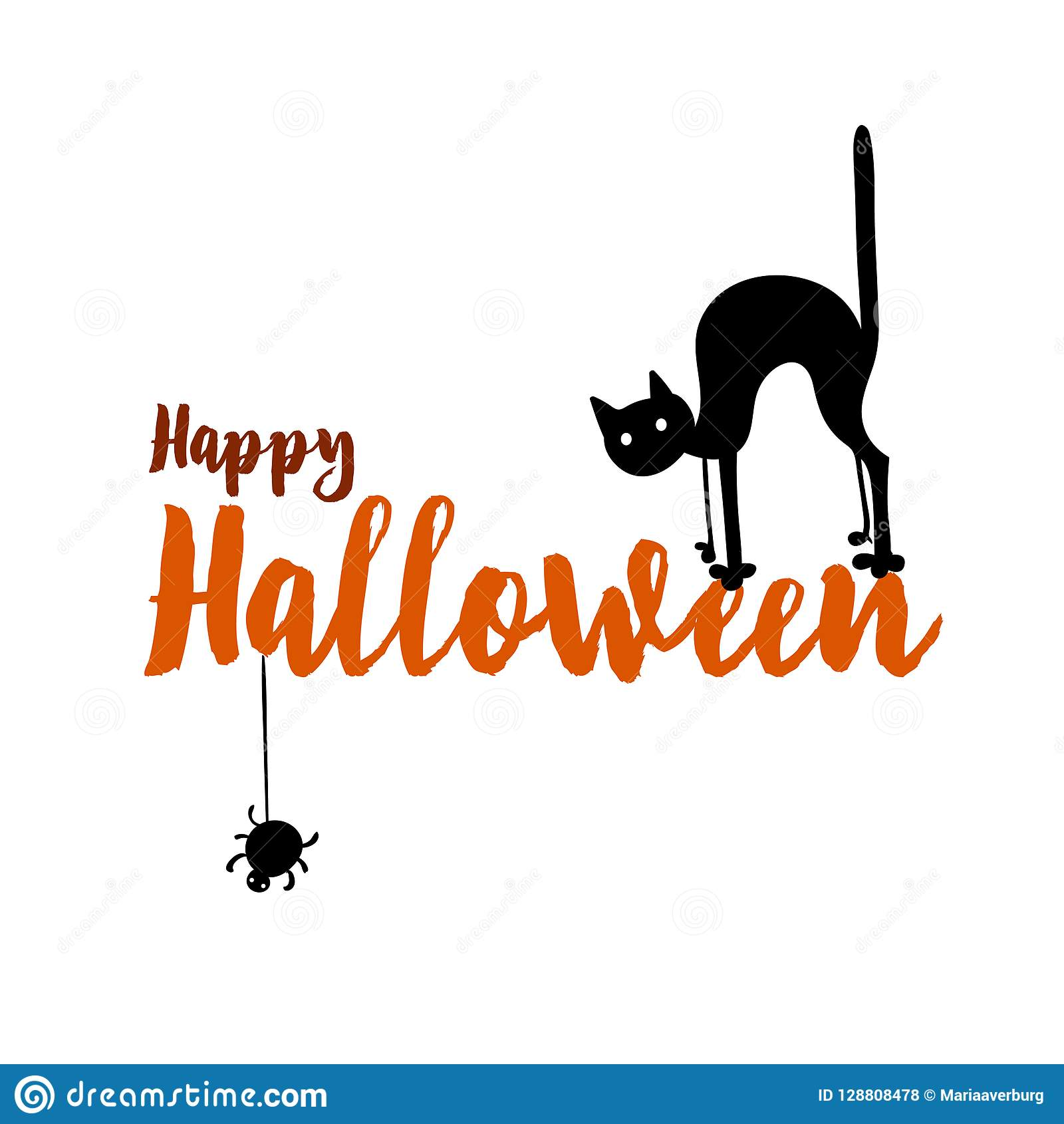 happy halloween party title logo template spider and web cat stock