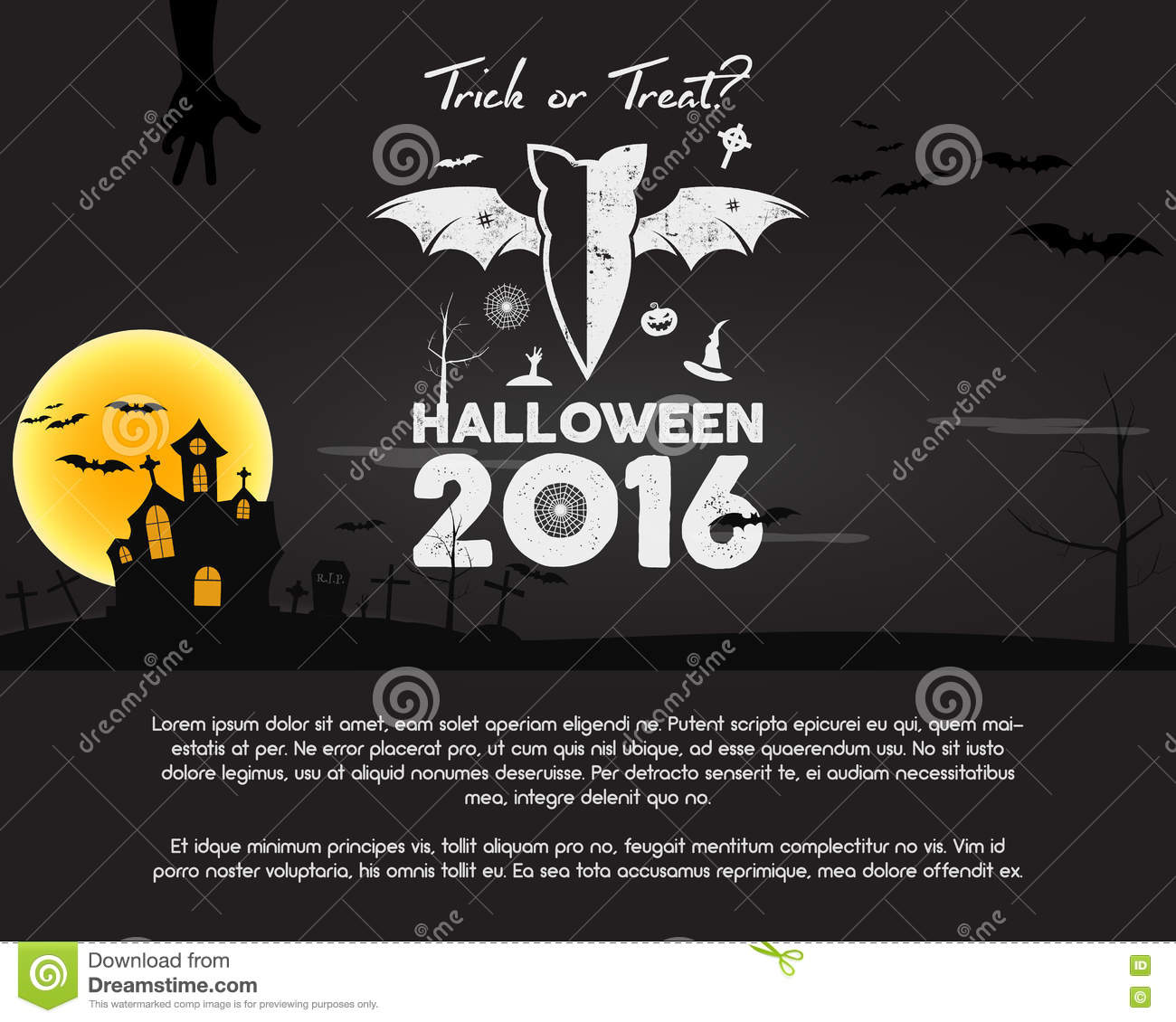 Happy halloween 2016 poster trick or treat letters and halloween trick or treat letters and halloween holiday symbols bat pumpkin hand witch hat buycottarizona Image collections