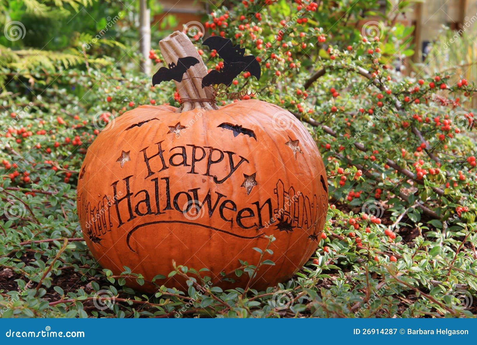 Happy Halloween Pumpkin Stock Image Image Of Leaves 26914287
