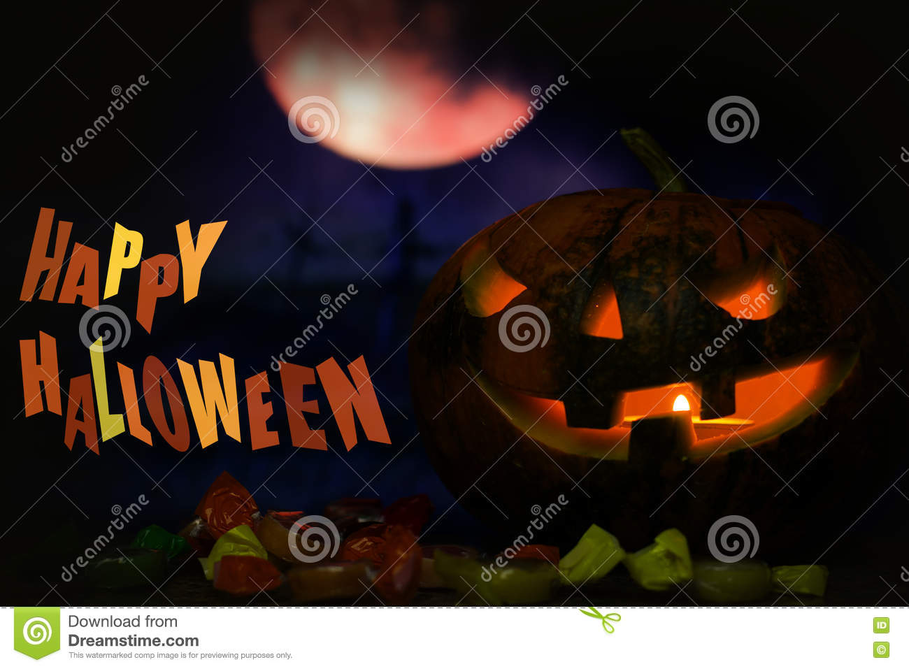 happy halloween pumpkin card background with night moon and candy