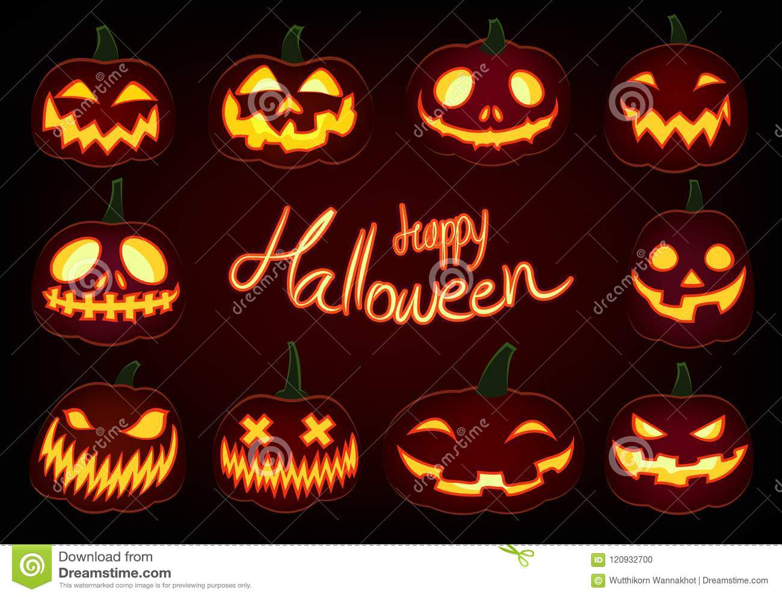 Happy Halloween Pumpkin Glow Jack O Lantern Set On Dark Background Stock Vector Illustration Of Pumpkin Lantern 120932700