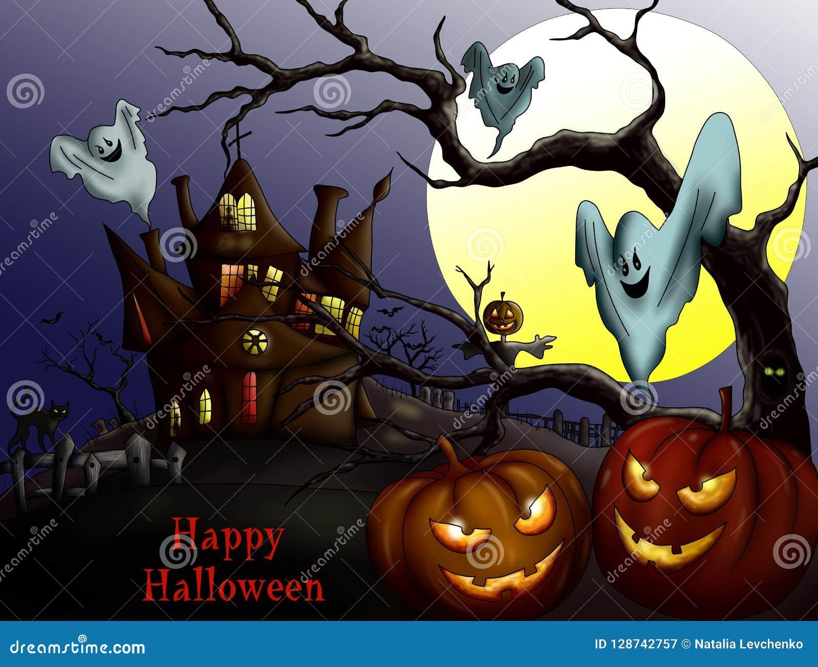 Happy Halloween With Pumpkin Haunted House And Full Moon Invi Stock Illustration Illustration Of Holiday Creepy 128742757