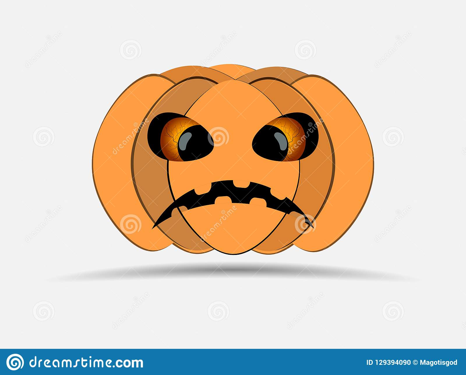 Happy Halloween. Pumpkin isolated on white background. Jack o lantern icon. Vector
